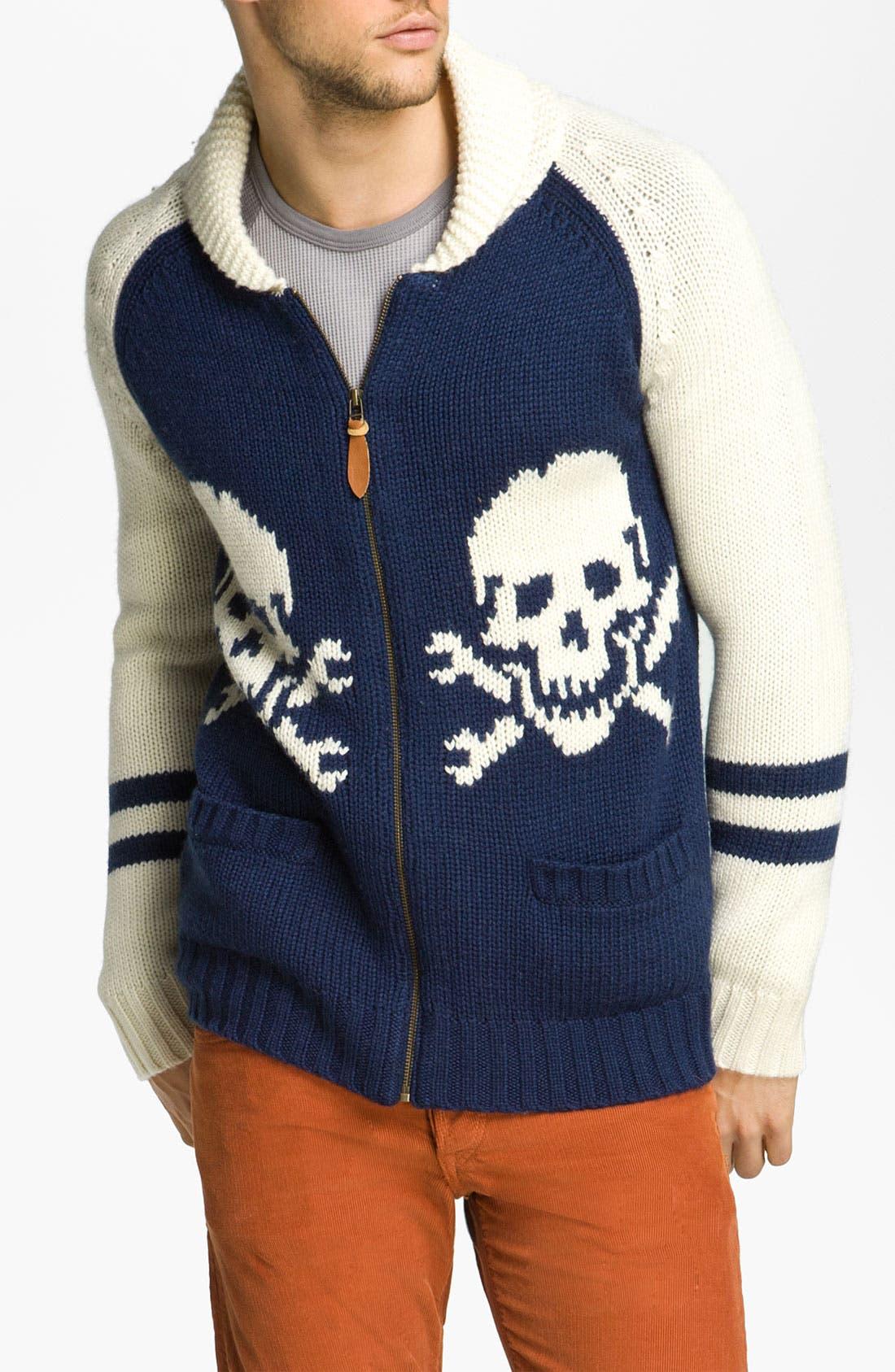 Main Image - Deus Ex Machina 'Skulls' Shawl Collar Zip Sweater