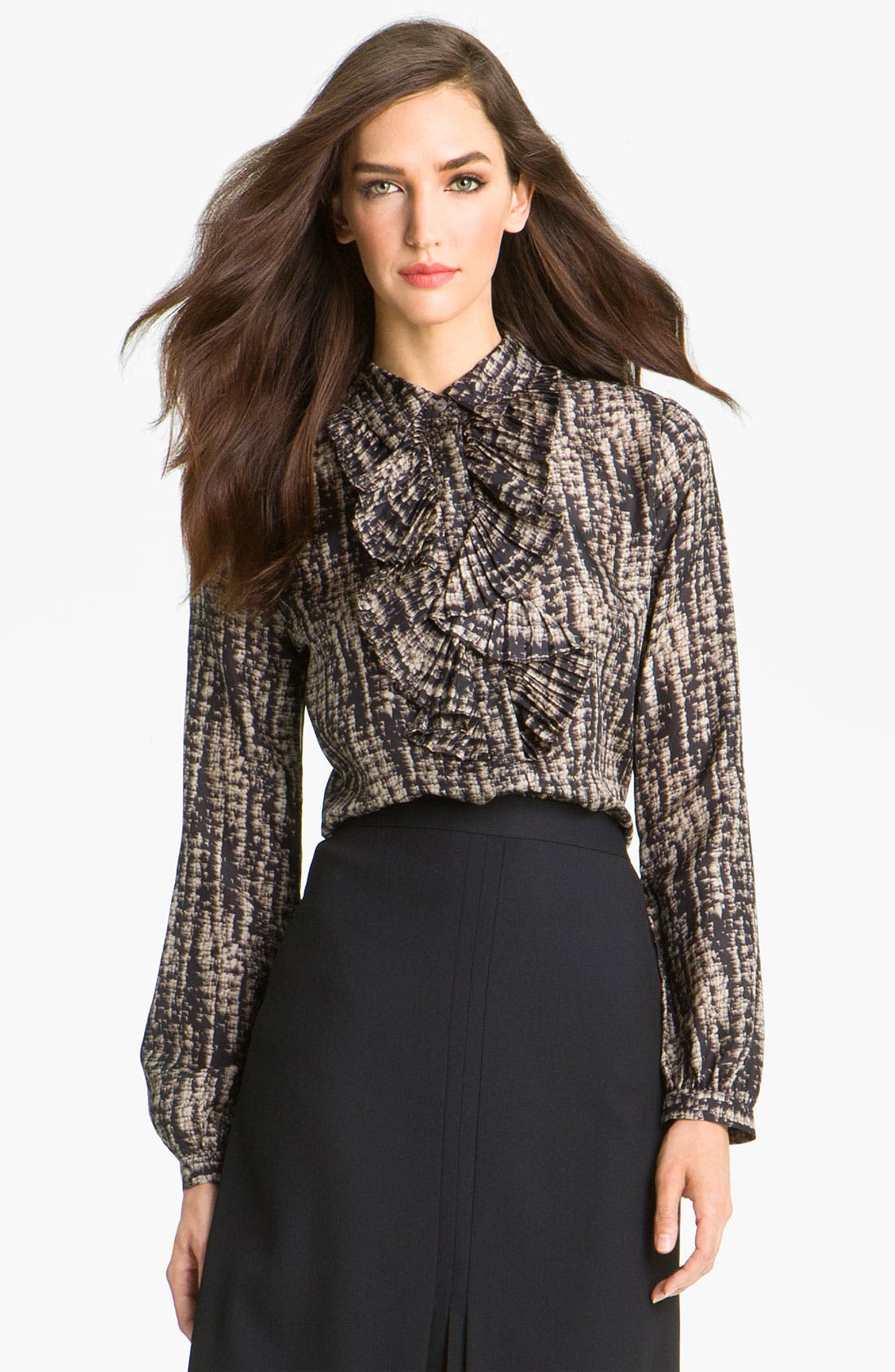 Alternate Image 1 Selected - Classiques Entier® Ruffled Print Silk Blouse