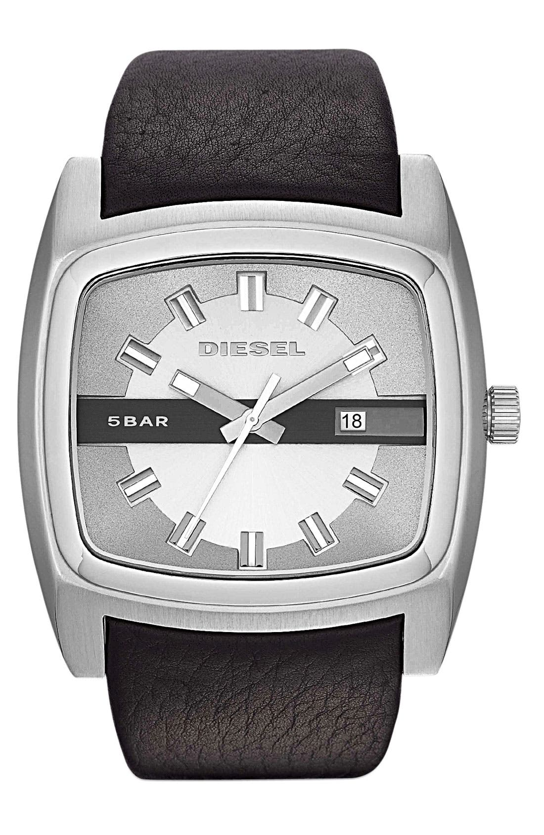 Main Image - DIESEL® 'Mr. Red' Leather Strap Watch, 53mm x 47mm