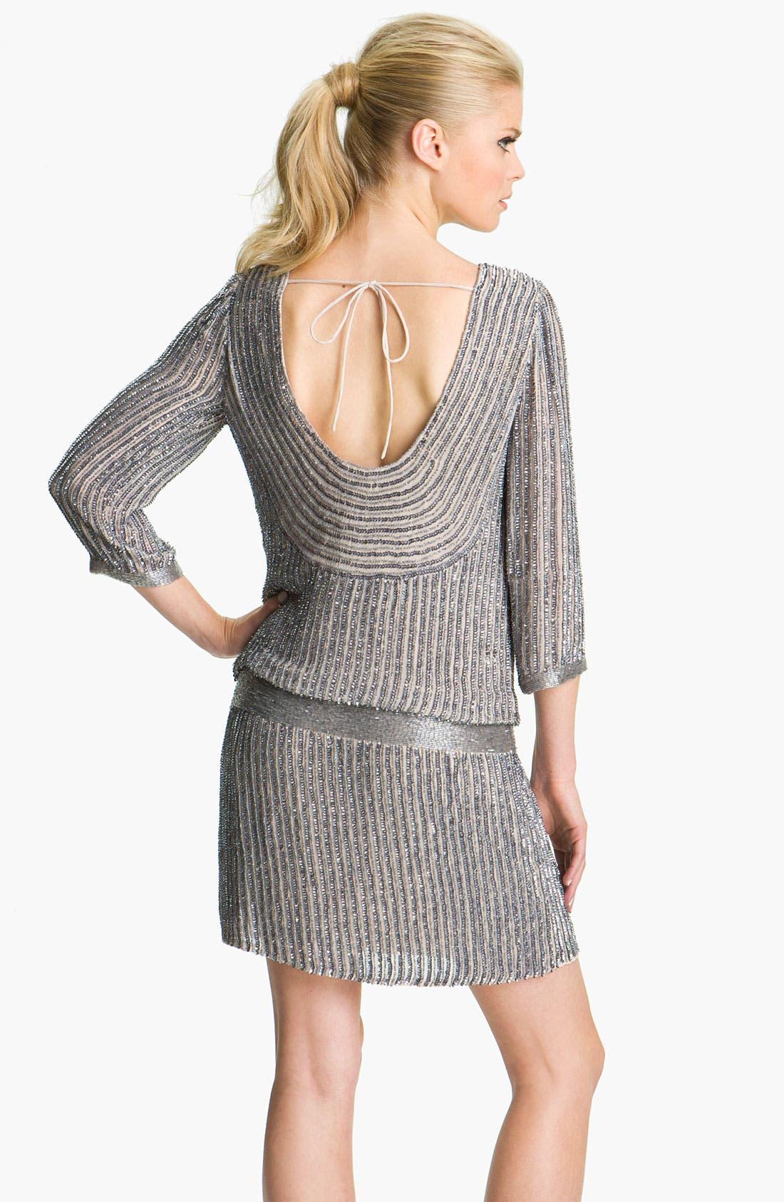 Alternate Image 2  - Adrianna Papell Scoop Back Embellished Silk Blouson Dress