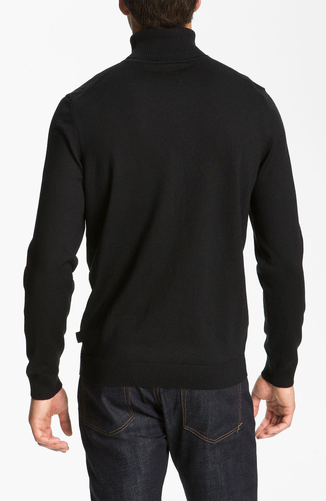 Alternate Image 2  - BOSS Black Slim Fit Wool Turtleneck