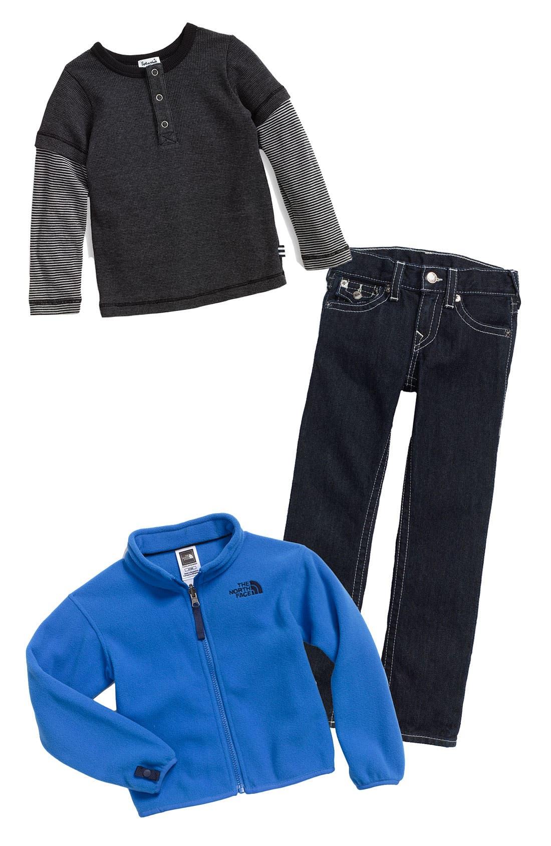 Main Image - The North Face Jacket, Splendid Henley & True Religion Brand Jeans Straight Leg Jeans (Toddler)