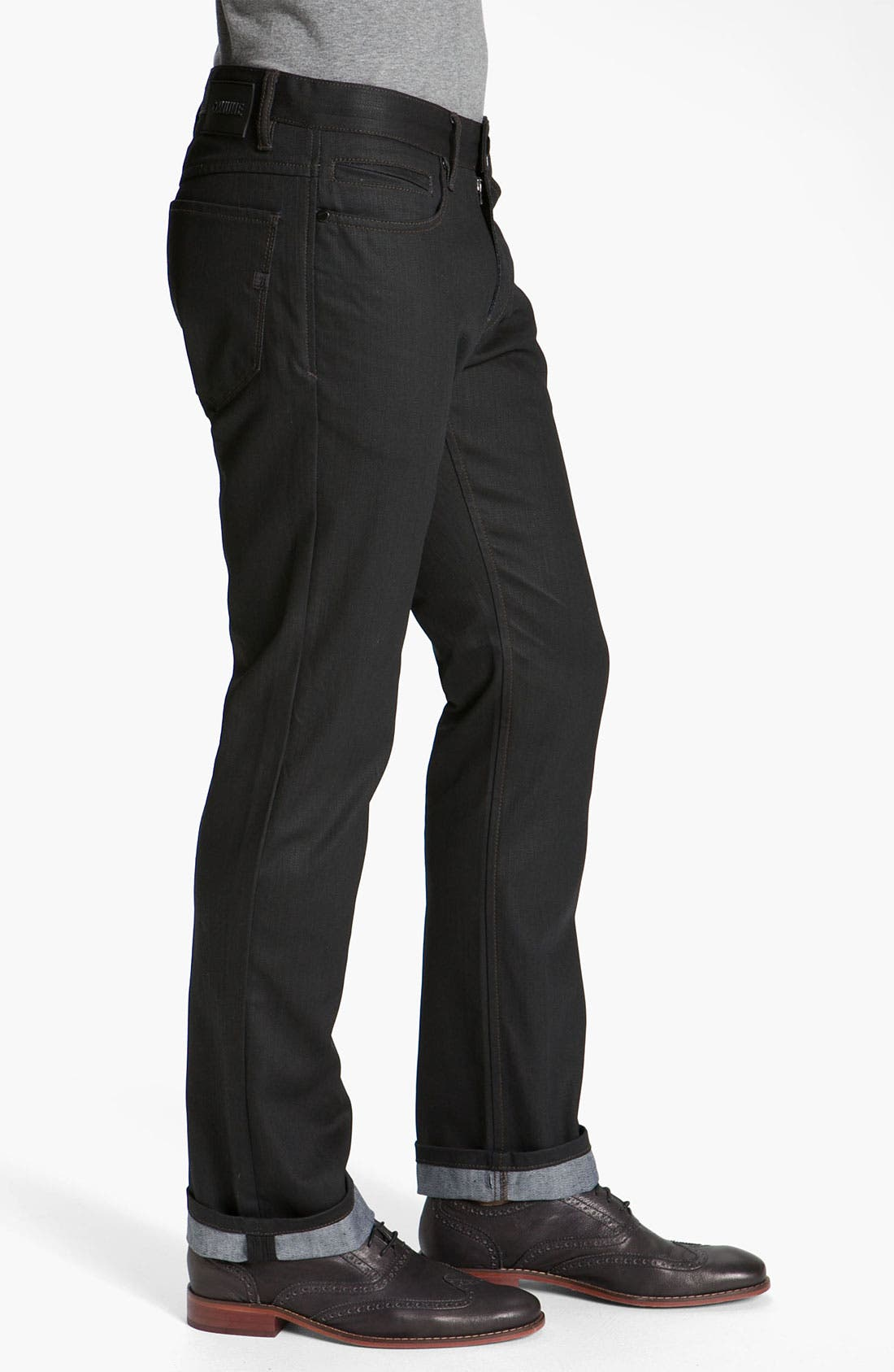 Alternate Image 3  - Comune 'Rudy' Coated Slim Straight Leg Jeans (Black Indigo)