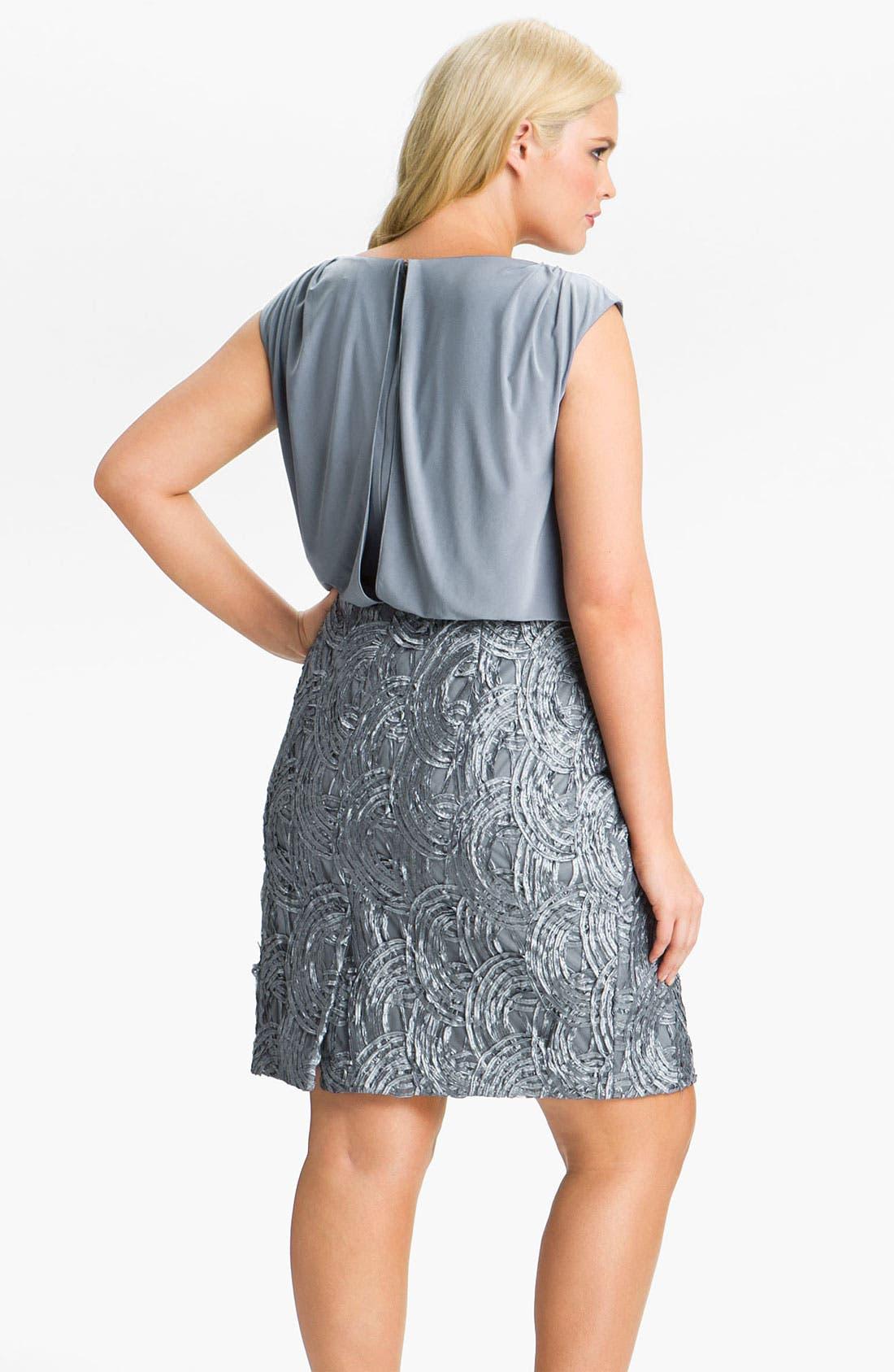Alternate Image 2  - Adrianna Papell Soutache Trim Blouson Dress (Plus)