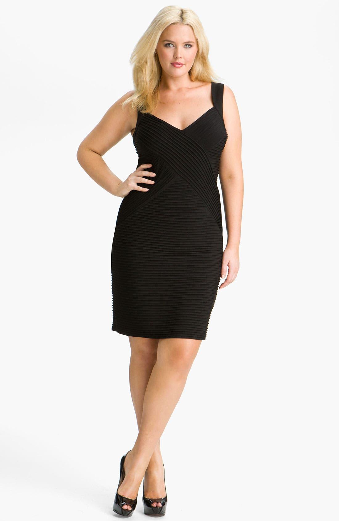 Alternate Image 1 Selected - Calvin Klein Pleat Panel Jersey Sheath Dress (Plus)