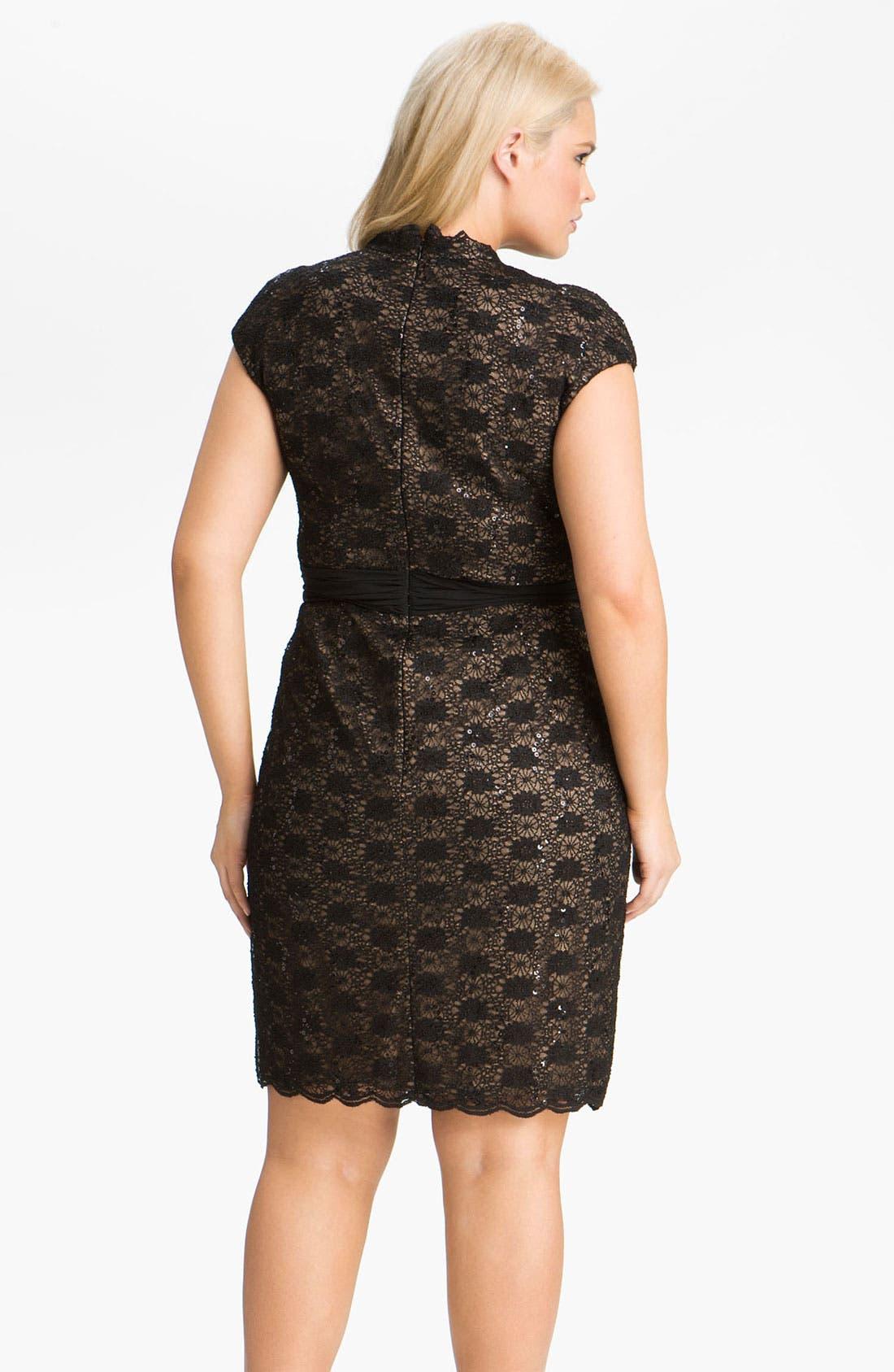 Alternate Image 2  - Alex Evenings Surplice Lace Dress (Plus Size)