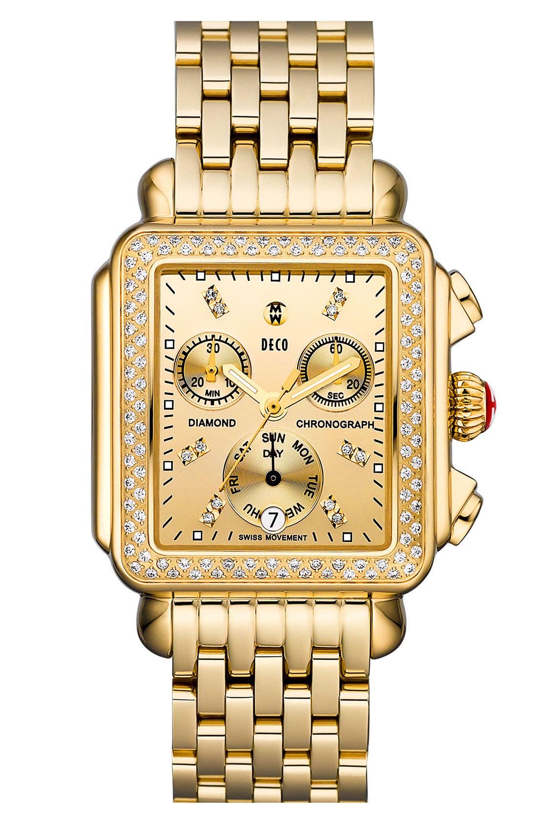 Alternate Image 1 Selected - MICHELE 'Deco Diamond' High Shine Gold Customizable Watch