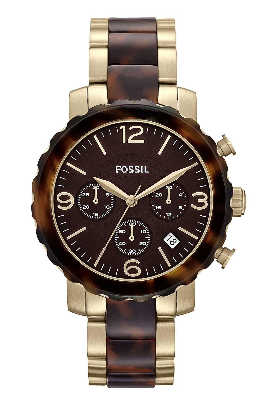 Alternate Image 1 Selected - Fossil Tortoiseshell Round Chronograph Bracelet Watch
