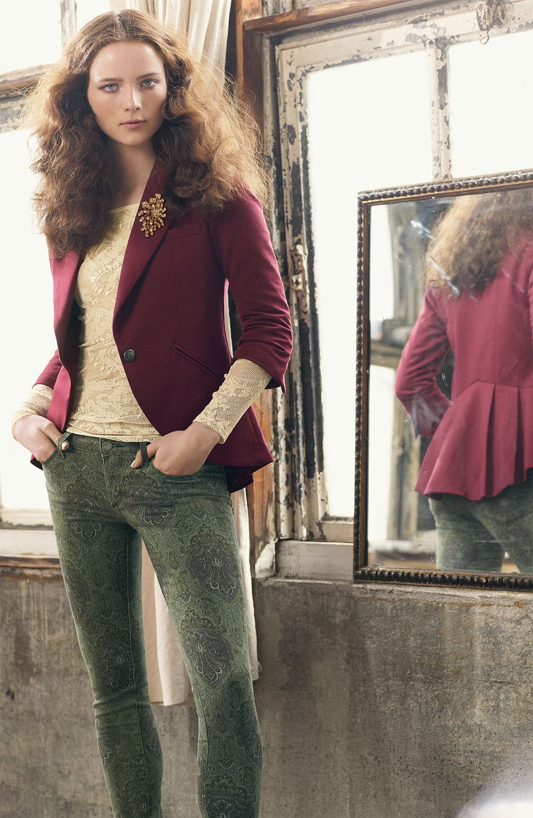Alternate Image 6  - Paige Denim 'Verdugo' Print Skinny Jeans (Estate Green Paisley)