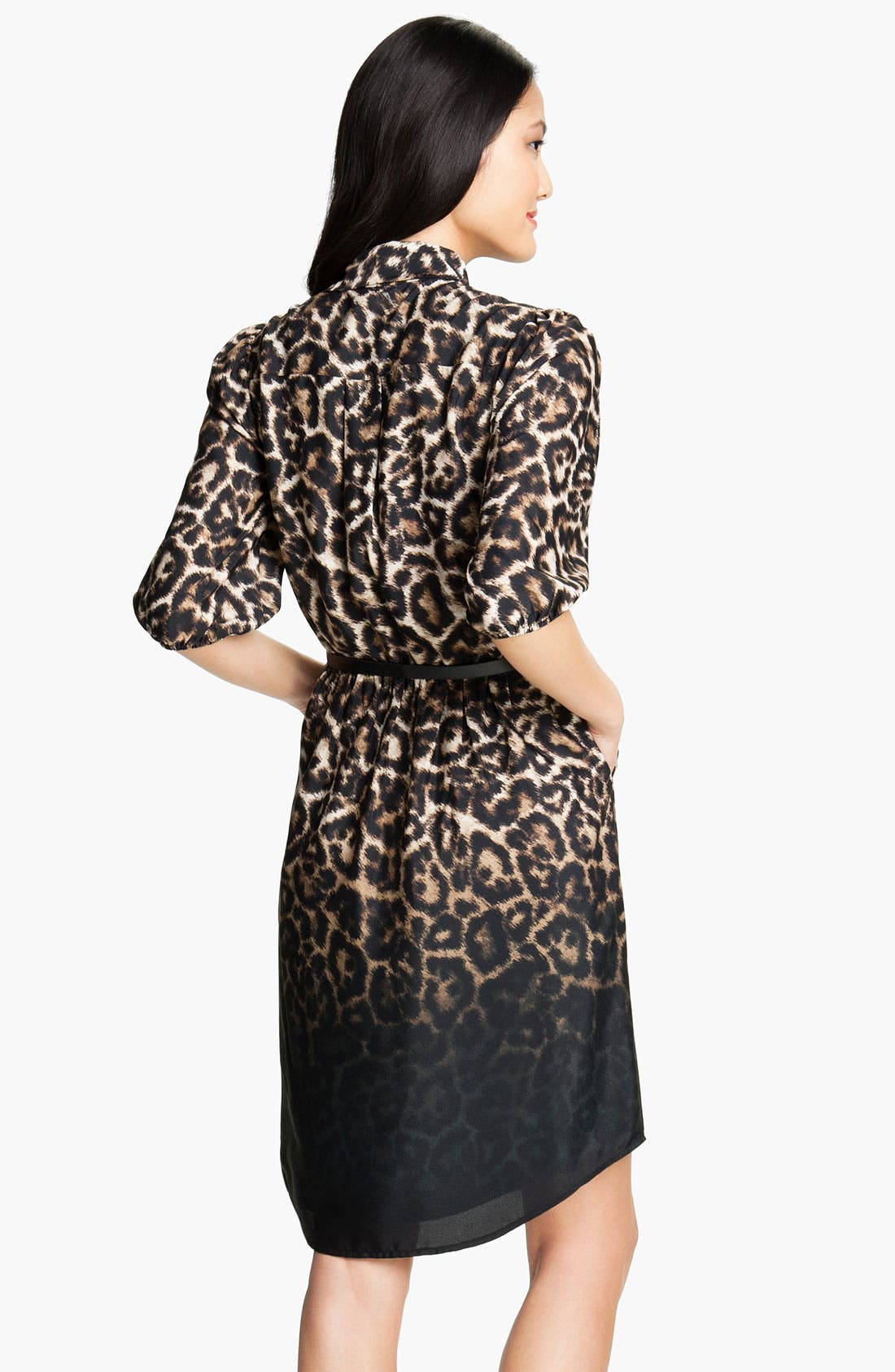 Alternate Image 2  - Vince Camuto Leopard Print Tie Front Shirt Dress