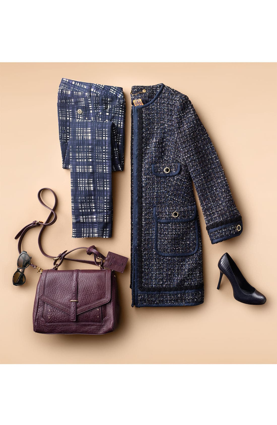 Main Image - Tory Burch Tweed Coat & Plaid Skinny Jeans