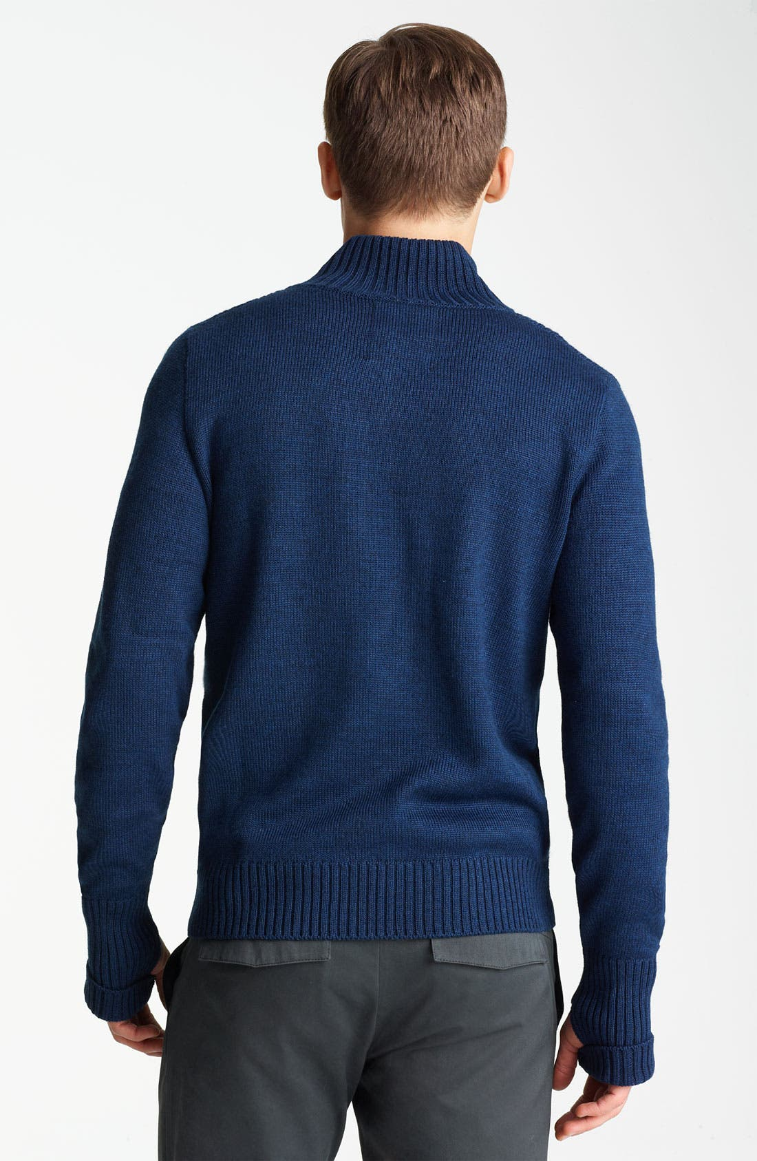 Mock Collar Sweater,                             Alternate thumbnail 2, color,                             Midnight Blue