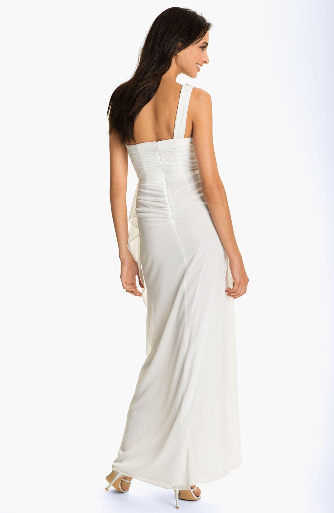 Alternate Image 2  - Xscape Beaded One Shoulder Sheer Mesh Gown
