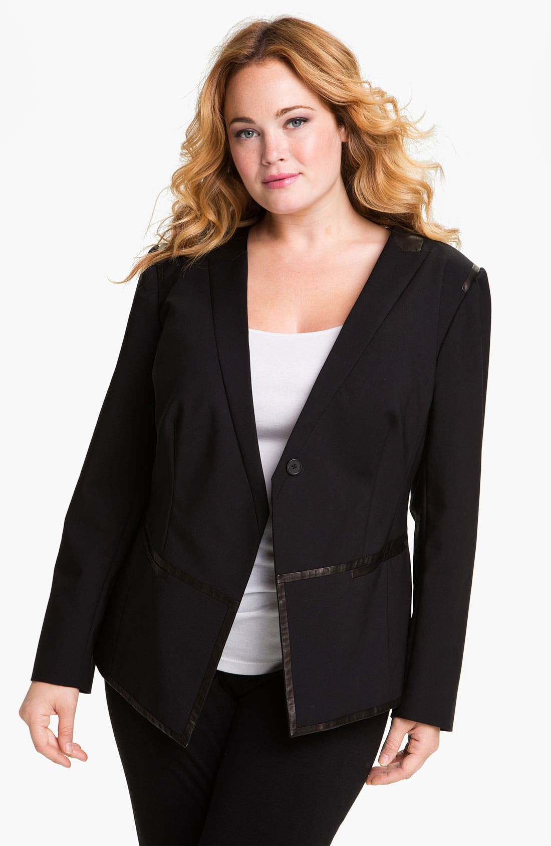 Alternate Image 1 Selected - Kenneth Cole New York 'Riley' Faux Leather Trim Blazer (Plus)