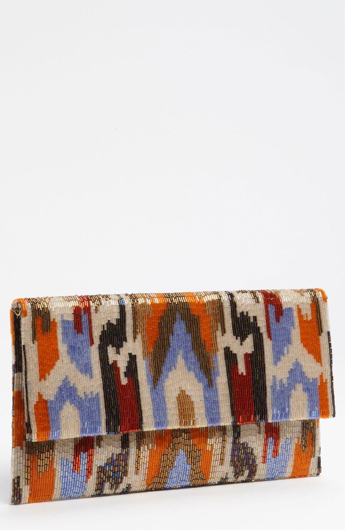 Main Image - Moyna Ikat Beaded Oversized Silk Clutch