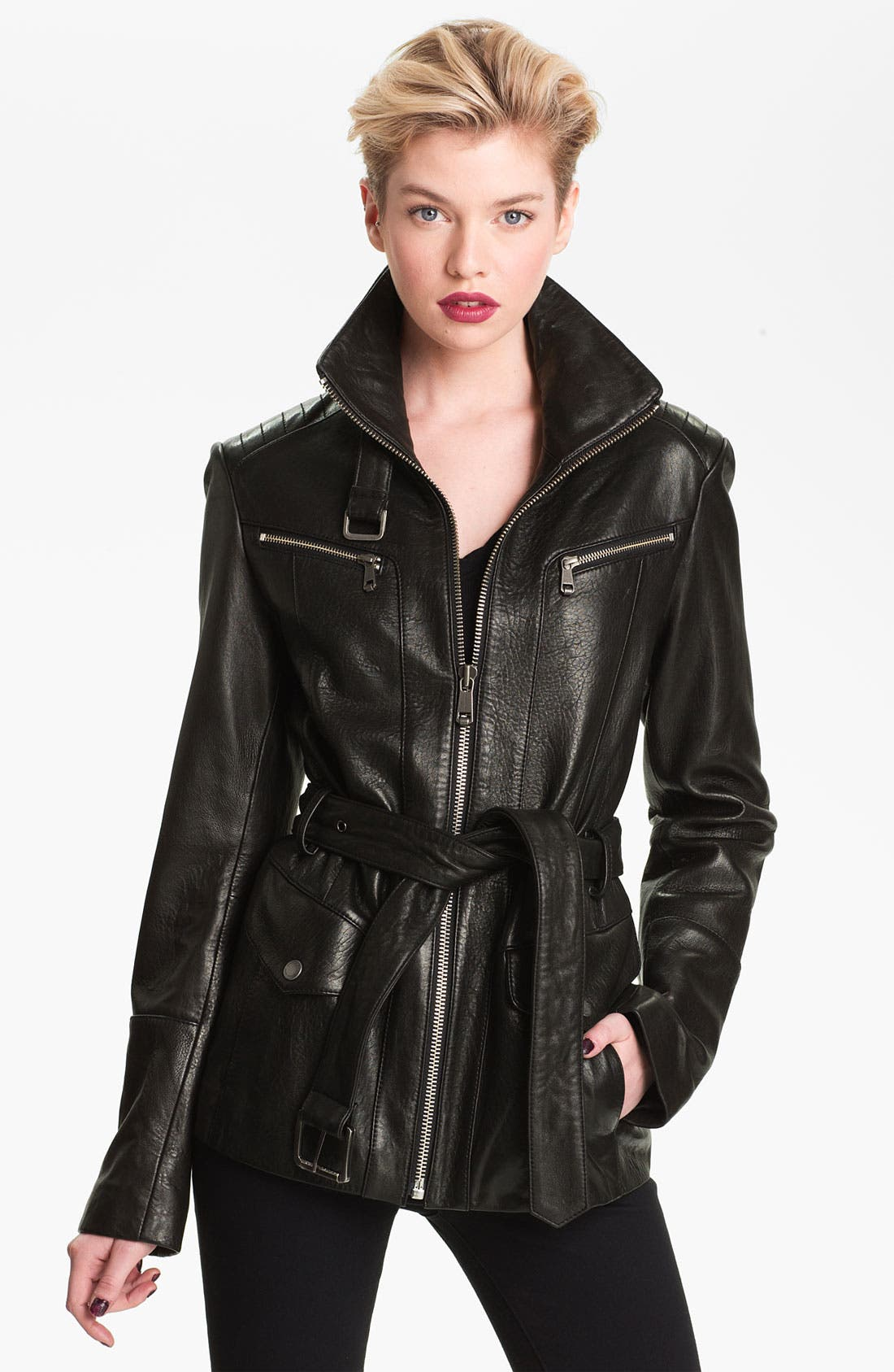 Main Image - Andrew Marc Belted Leather Jacket