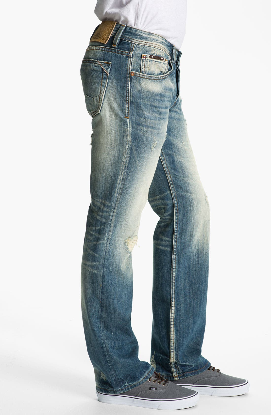 Alternate Image 3  - Cult of Individuality 'Hagen' Relaxed Straight Leg Jeans (Light Blue)