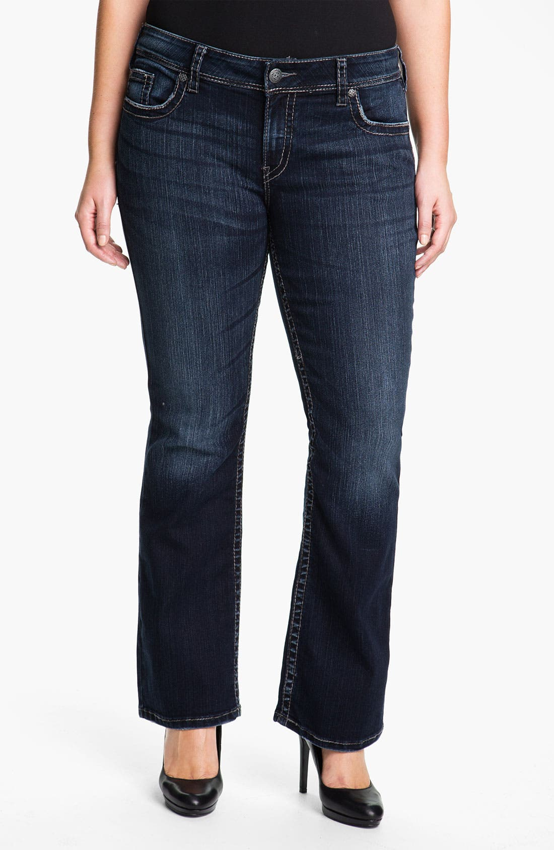 Alternate Image 1 Selected - Silver Jeans Co. 'Suki' Surplus Bootcut Jeans (Juniors Plus)