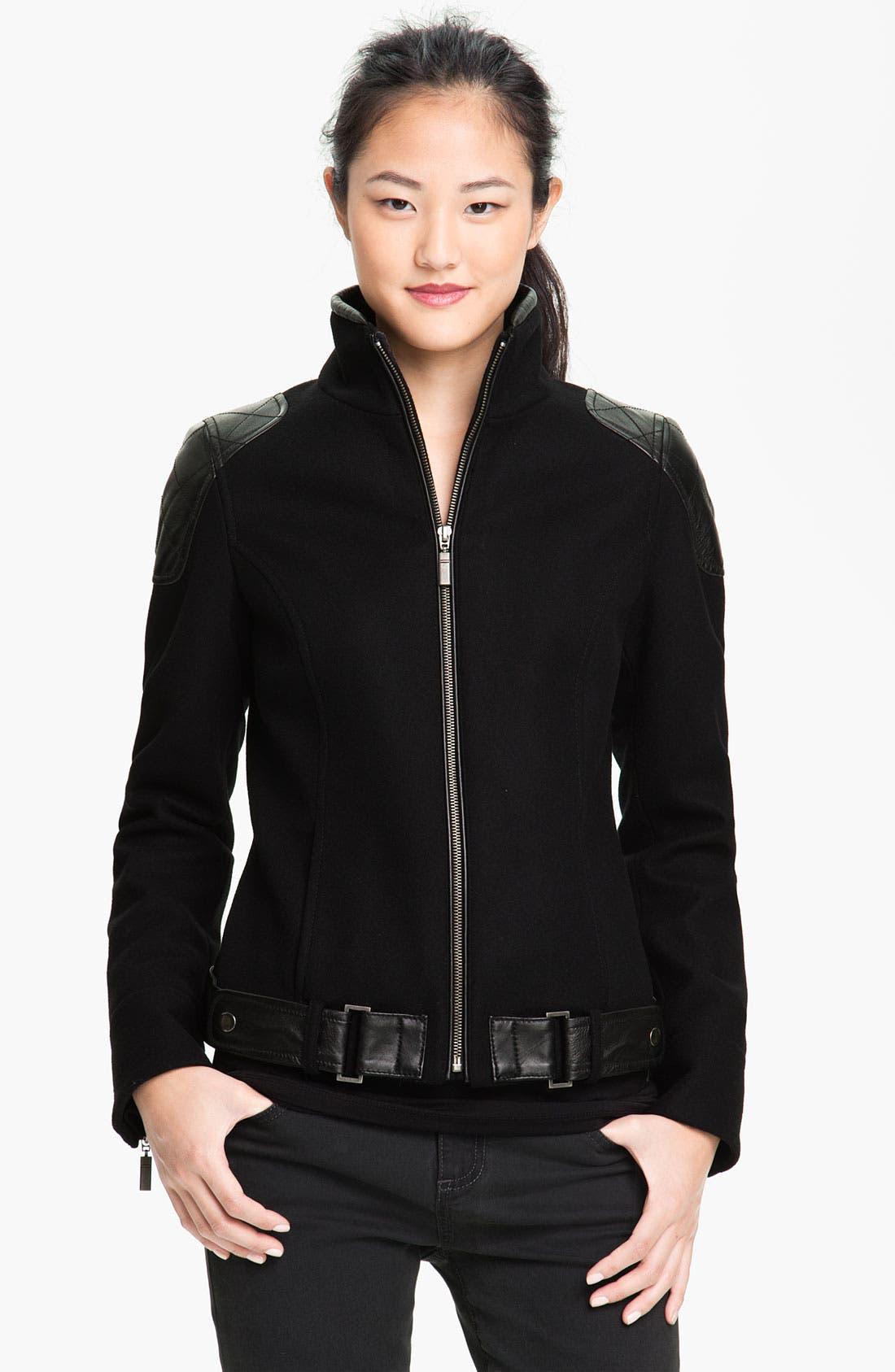 Alternate Image 1 Selected - Trina Turk Leather Trim Moto Jacket