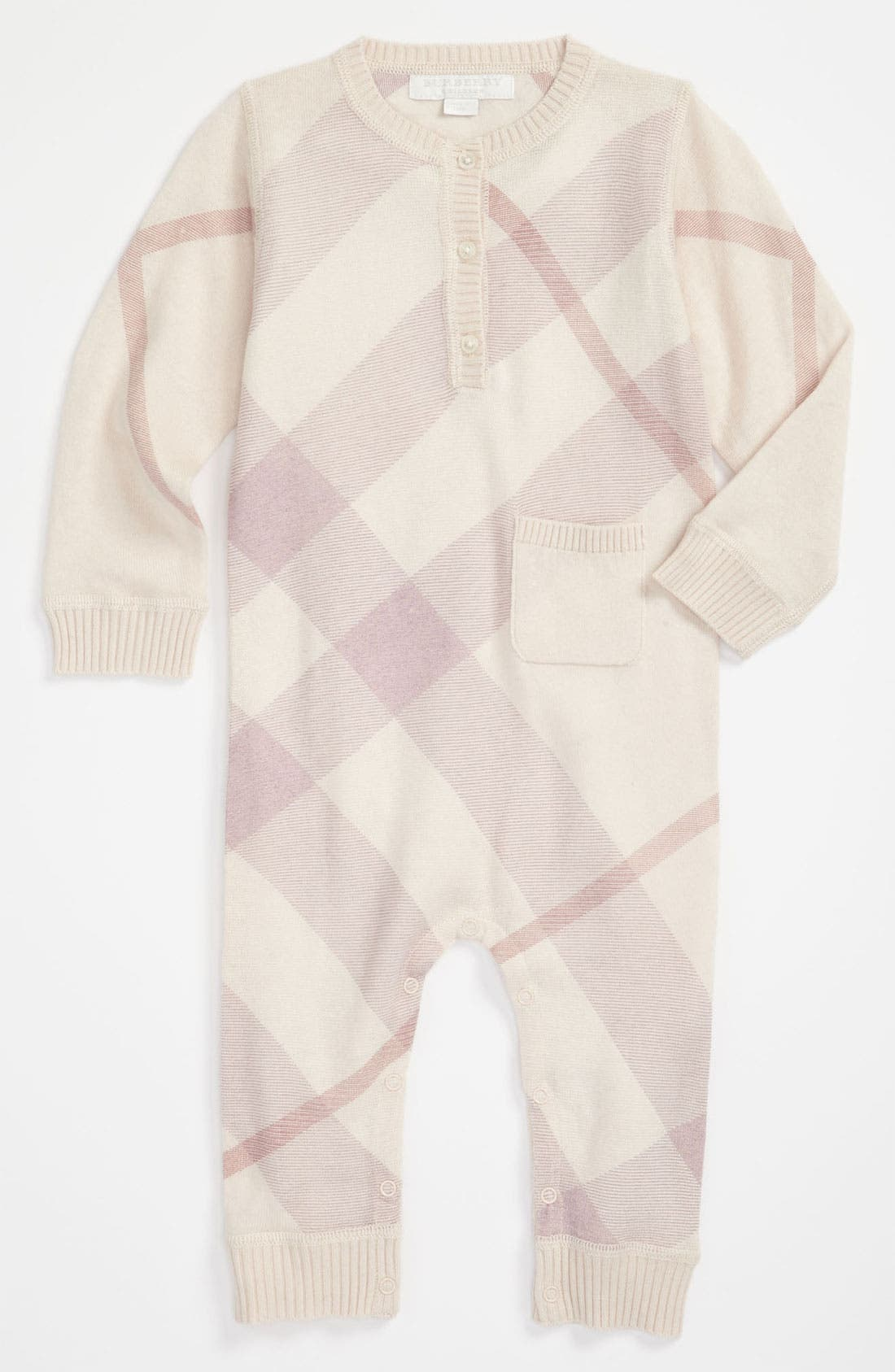 Alternate Image 1 Selected - Burberry Check Print Cashmere & Cotton Bodysuit (Infant)