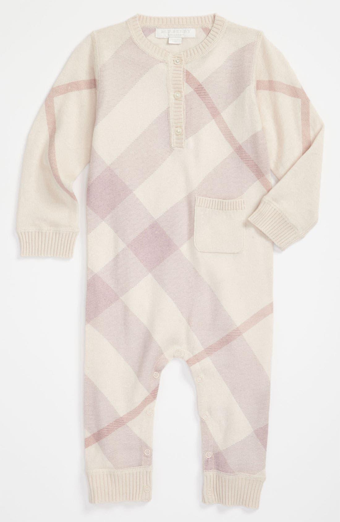 Main Image - Burberry Check Print Cashmere & Cotton Bodysuit (Infant)