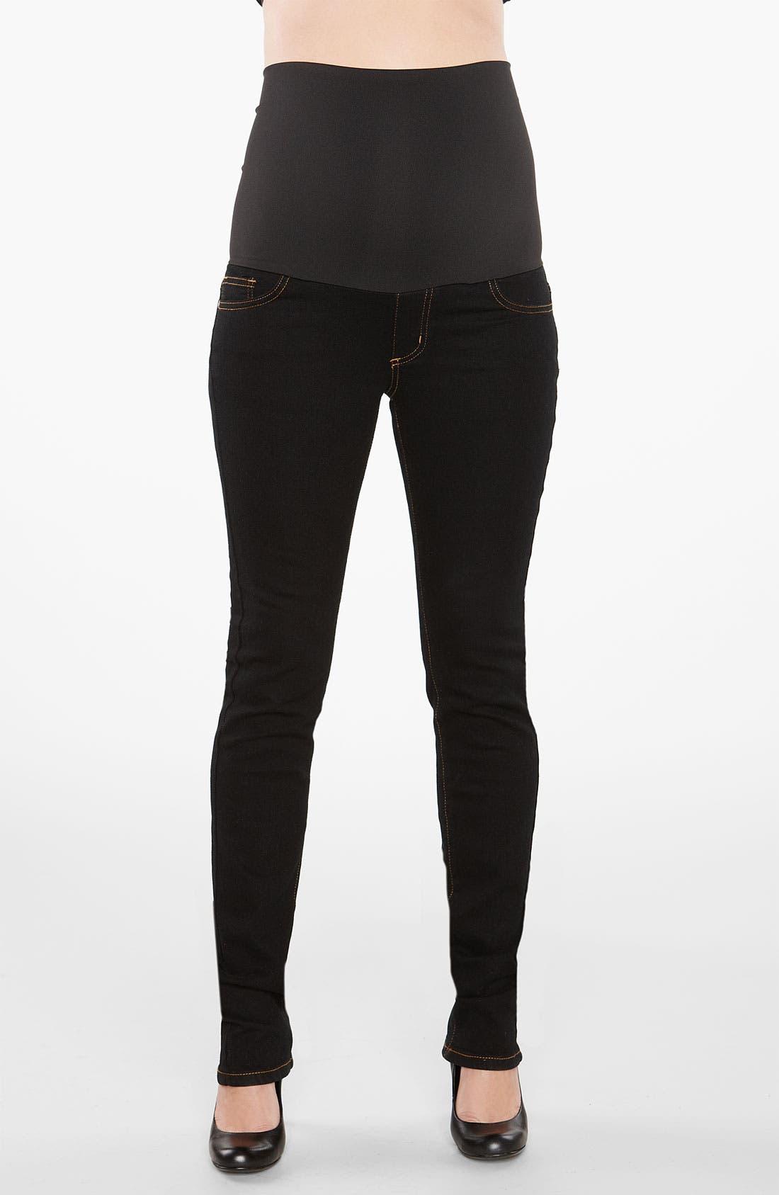 Straight Leg Stretch Maternity Jeans,                             Alternate thumbnail 2, color,                             Black