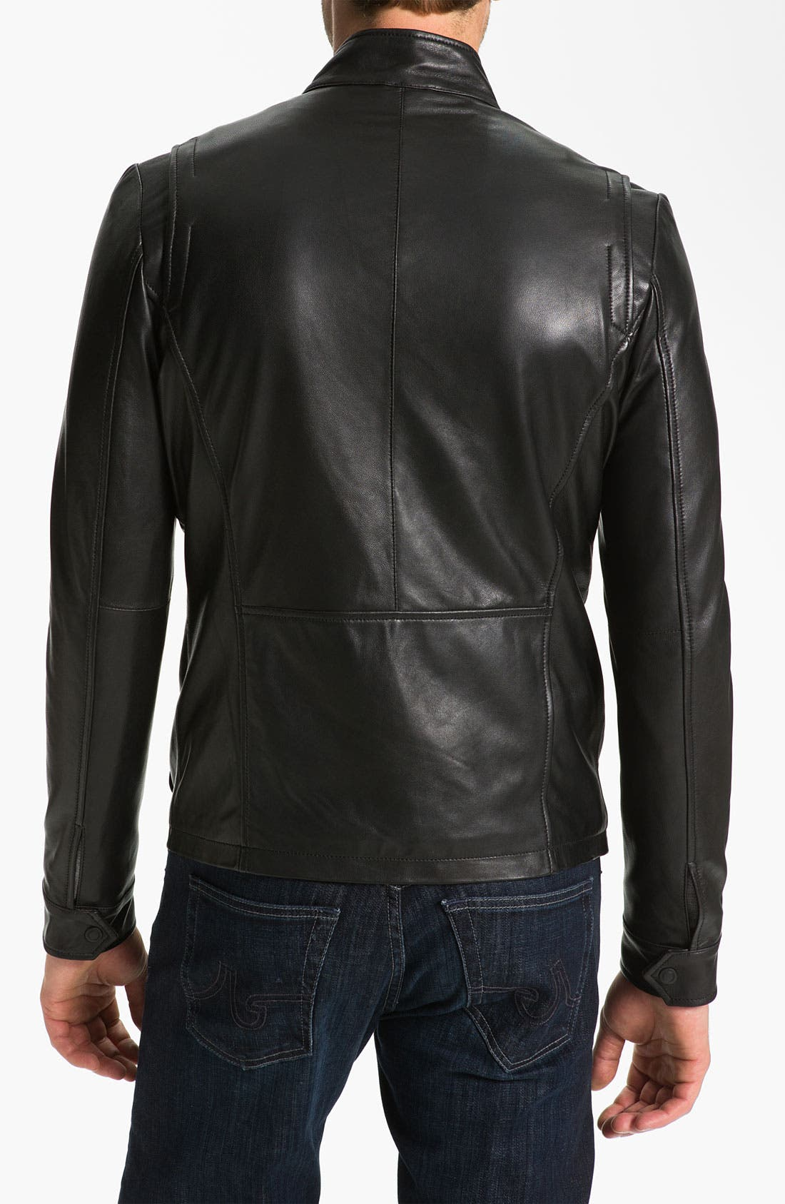Alternate Image 2  - Robert Comstock Leather Bomber Jacket