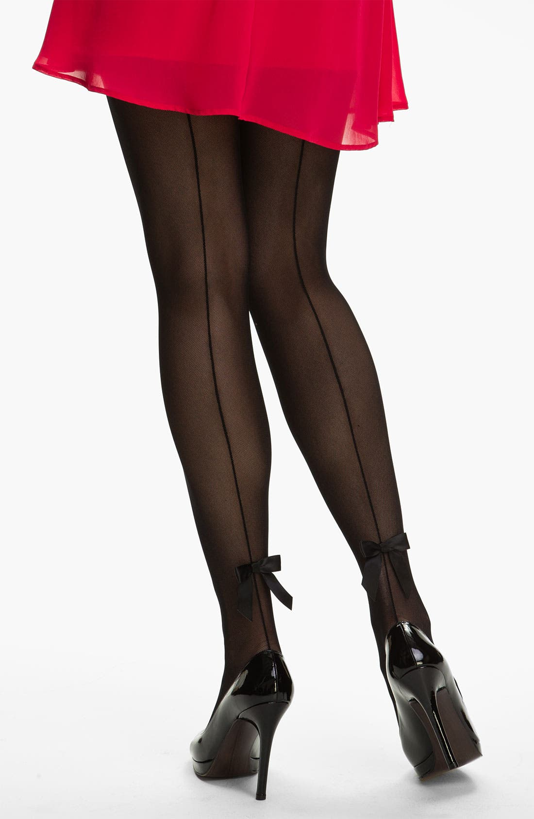 Alternate Image 1 Selected - Pretty Polly Back Seam & Bow Tights (Nordstrom Exclusive)