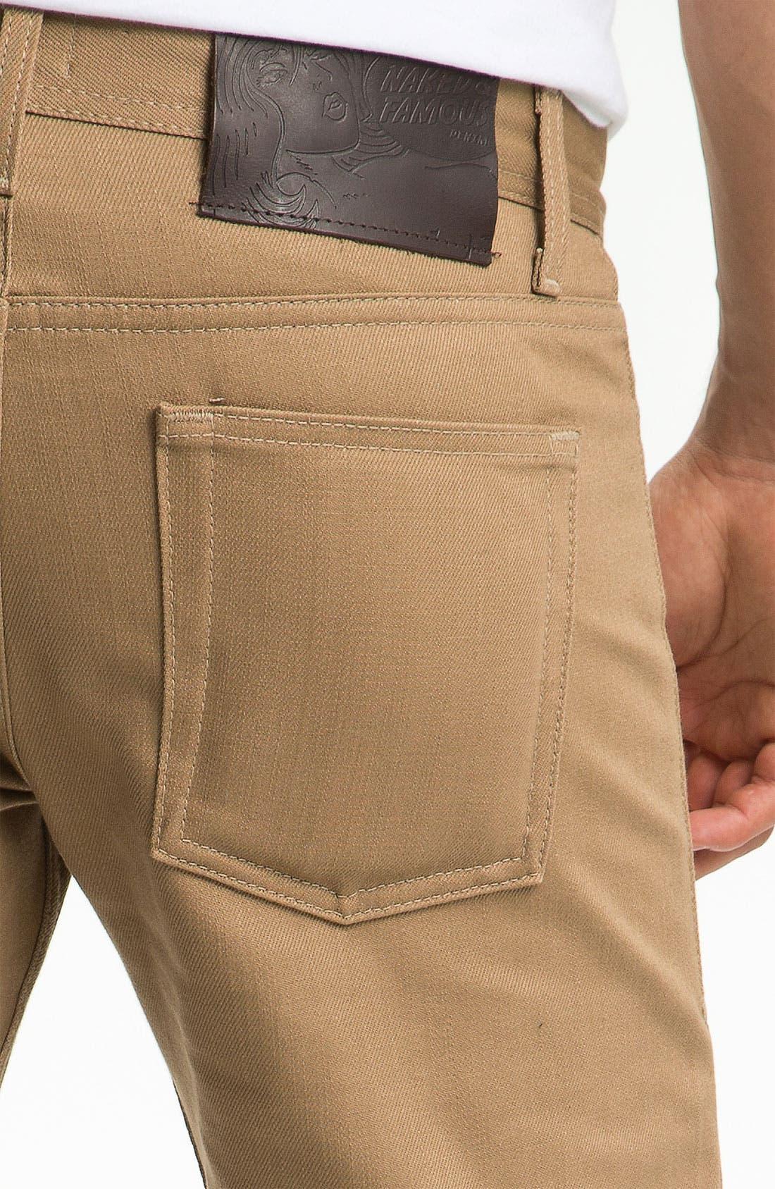 Alternate Image 3  - Naked & Famous Denim 'Weird Guy' Slim Straight Leg Selvedge Jeans (Beige)