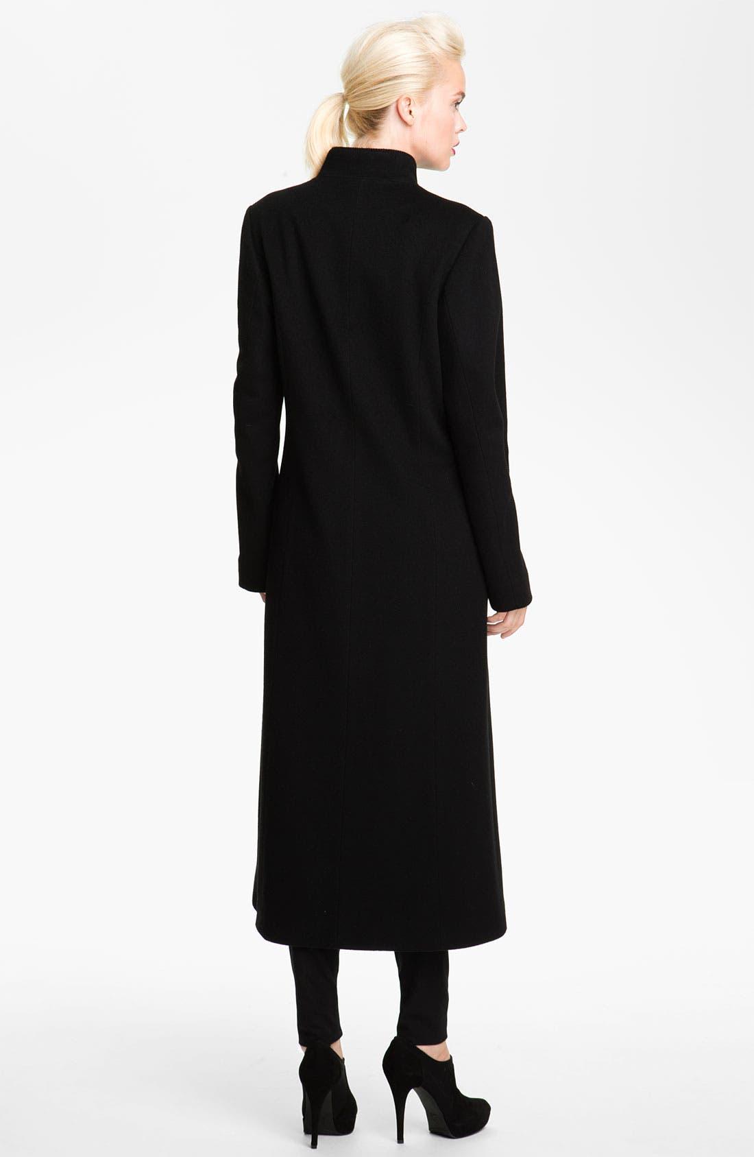 Alternate Image 2  - Fleurette Stand Collar Loro Piana Wool Coat (Petite)