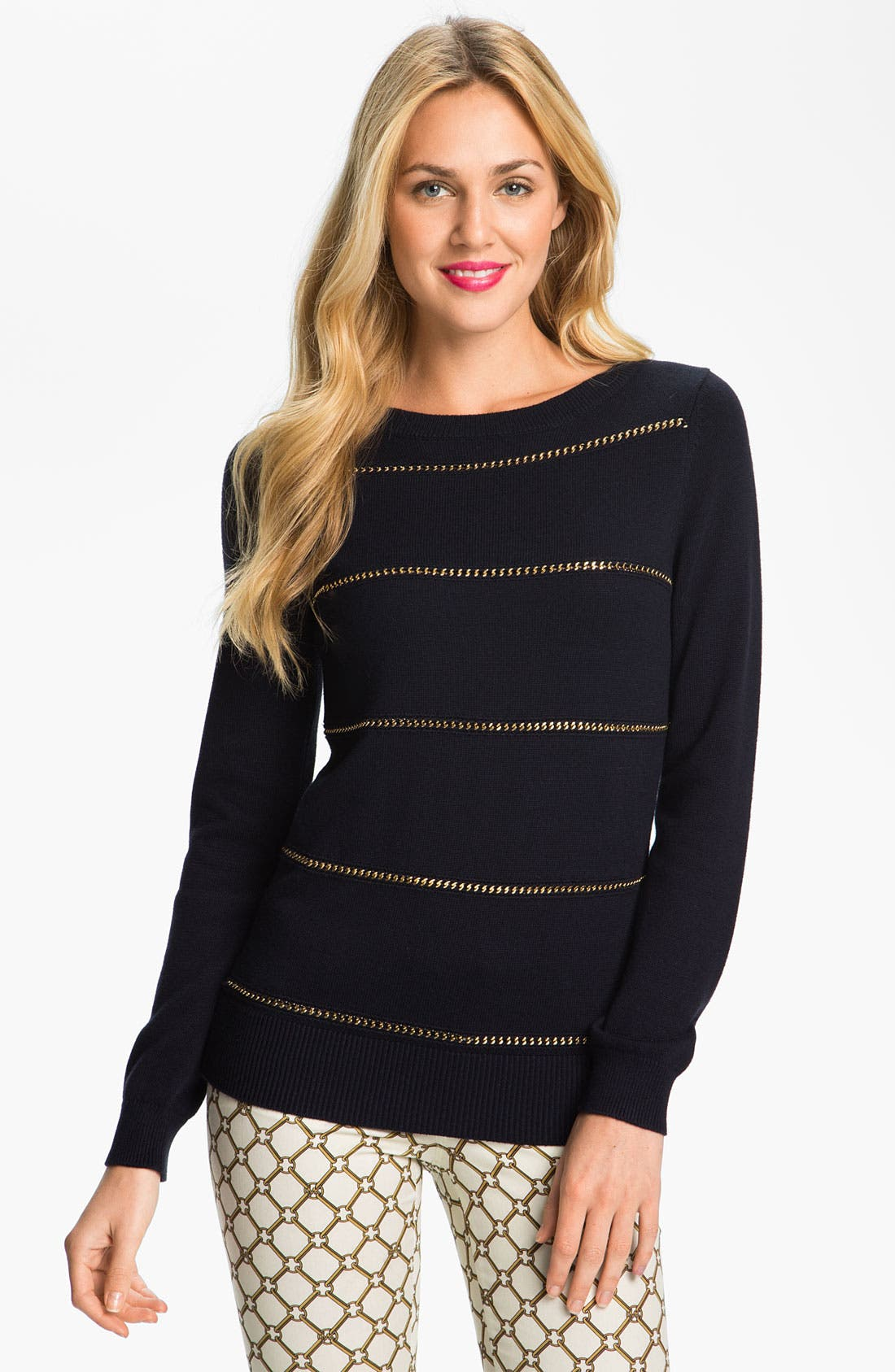 Chain Stripe Sweater,                         Main,                         color, Navy