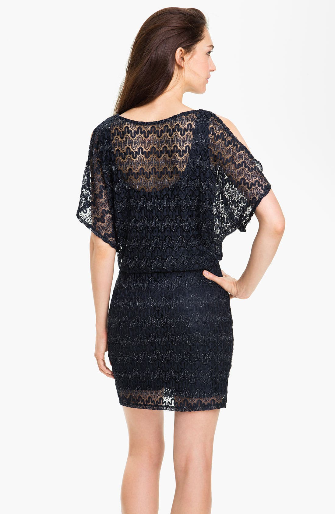 Alternate Image 2  - Xscape Split Sleeve Metallic Lace Dress