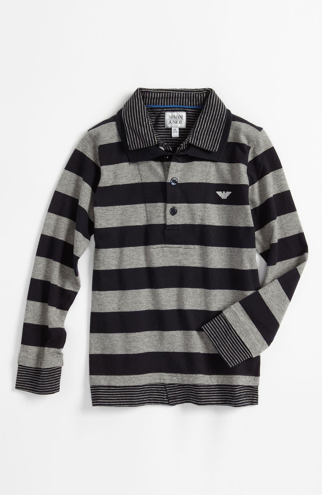 Main Image - Armani Junior Long Sleeve Polo (Little Boys)