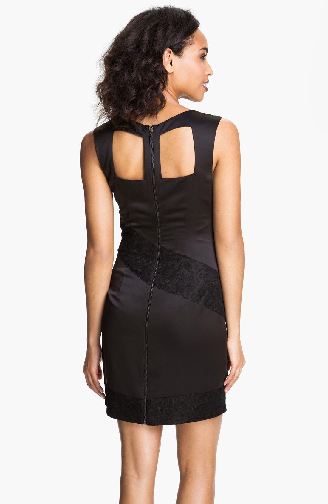Alternate Image 2  - Jessica Simpson Back Cutout Mixed Media Sheath Dress