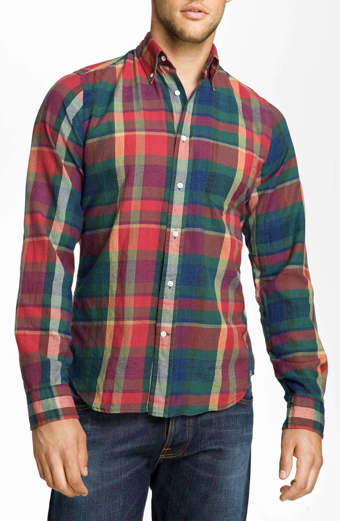 Alternate Image 1 Selected - Gant Rugger 'Indigo' Plaid Woven Shirt