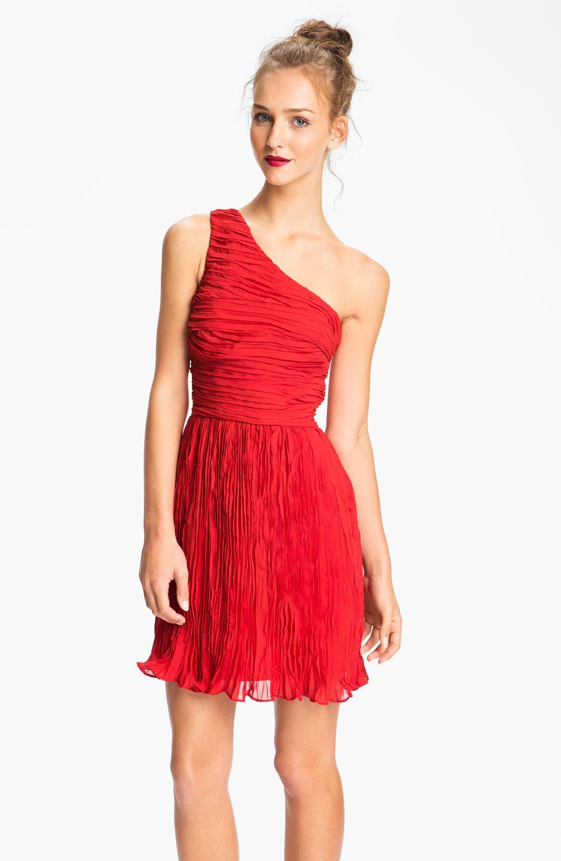 Alternate Image 1 Selected - BB Dakota One Shoulder Crinkle Chiffon Dress
