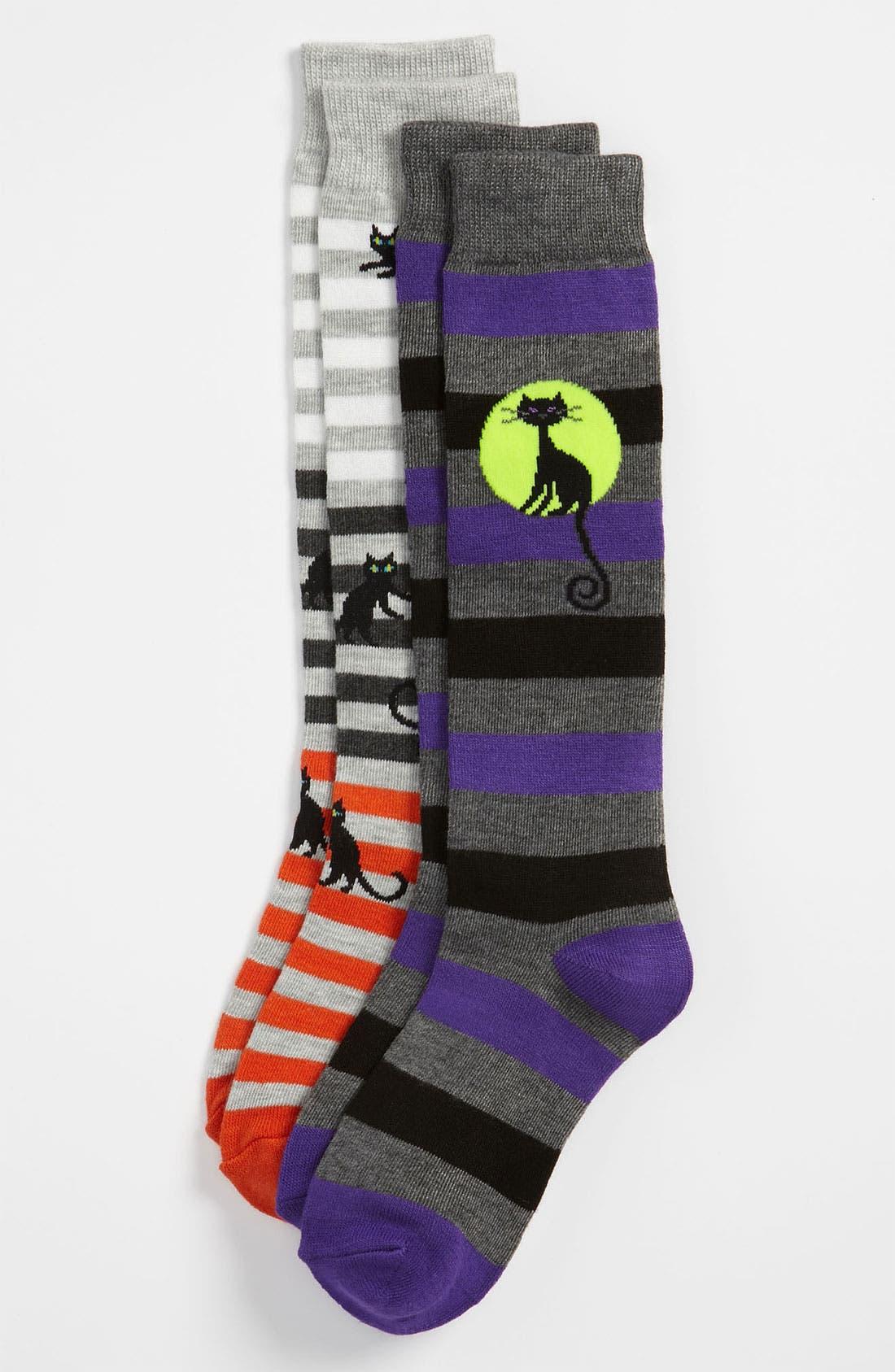 Main Image - Nordstrom 'Moonlight Cat' Knee High Socks (2-Pack) (Toddler, Little Boys & Big Boys)