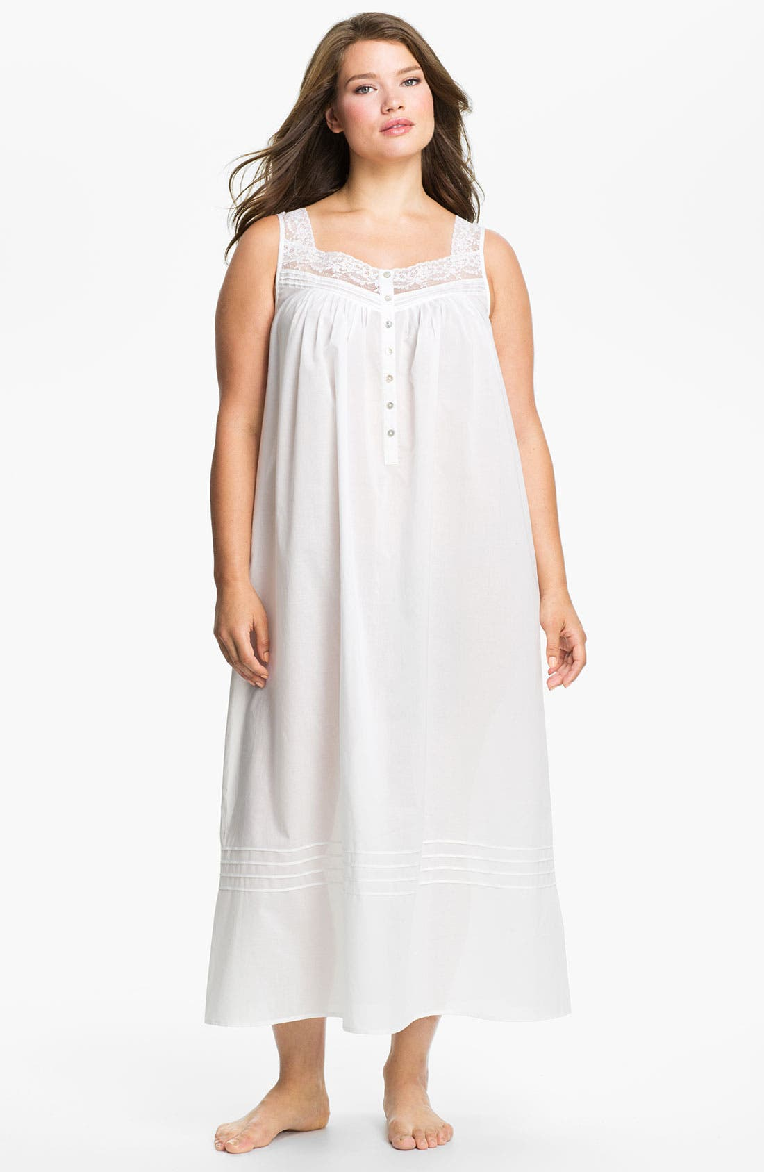 Alternate Image 1 Selected - Eileen West Lace Trim Sleeveless Nightgown (Plus Size)