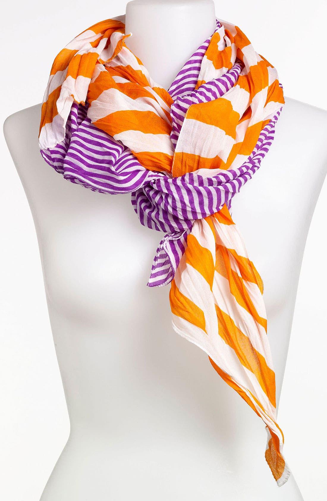 'Crinkle Stripe' Scarf,                         Main,                         color, Orange