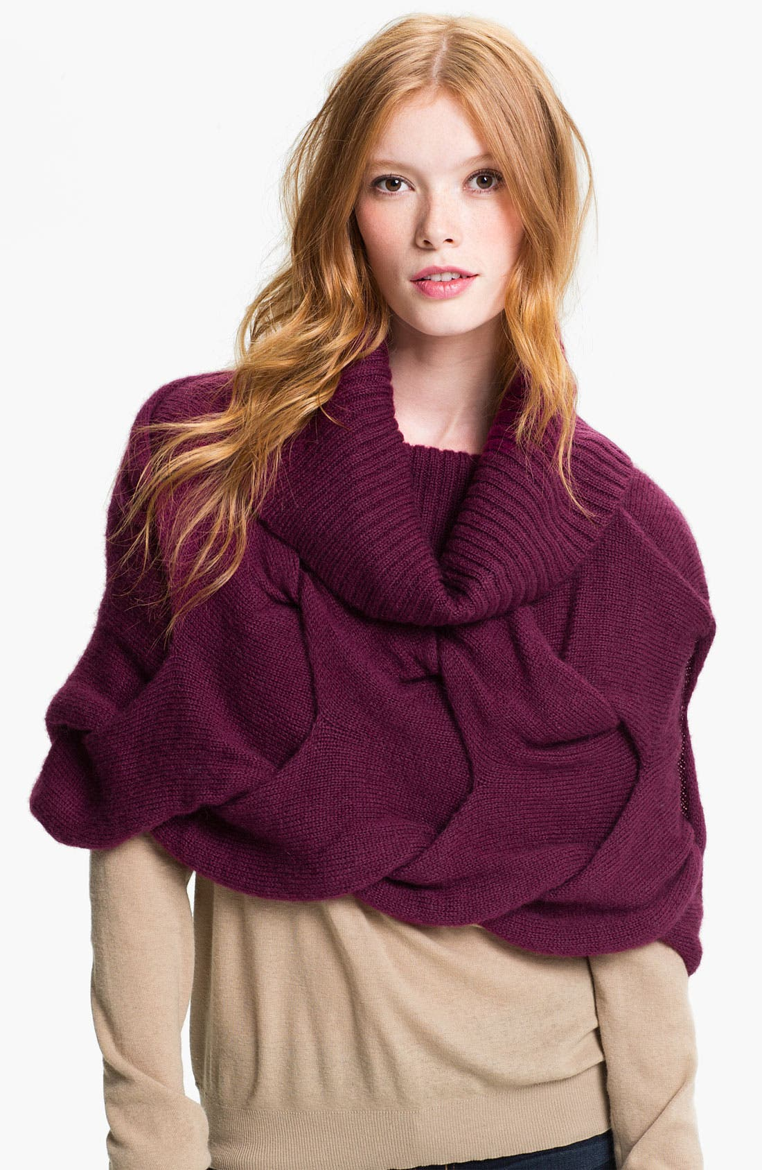 Scrunched Snood,                             Main thumbnail 1, color,                             Magenta Purple
