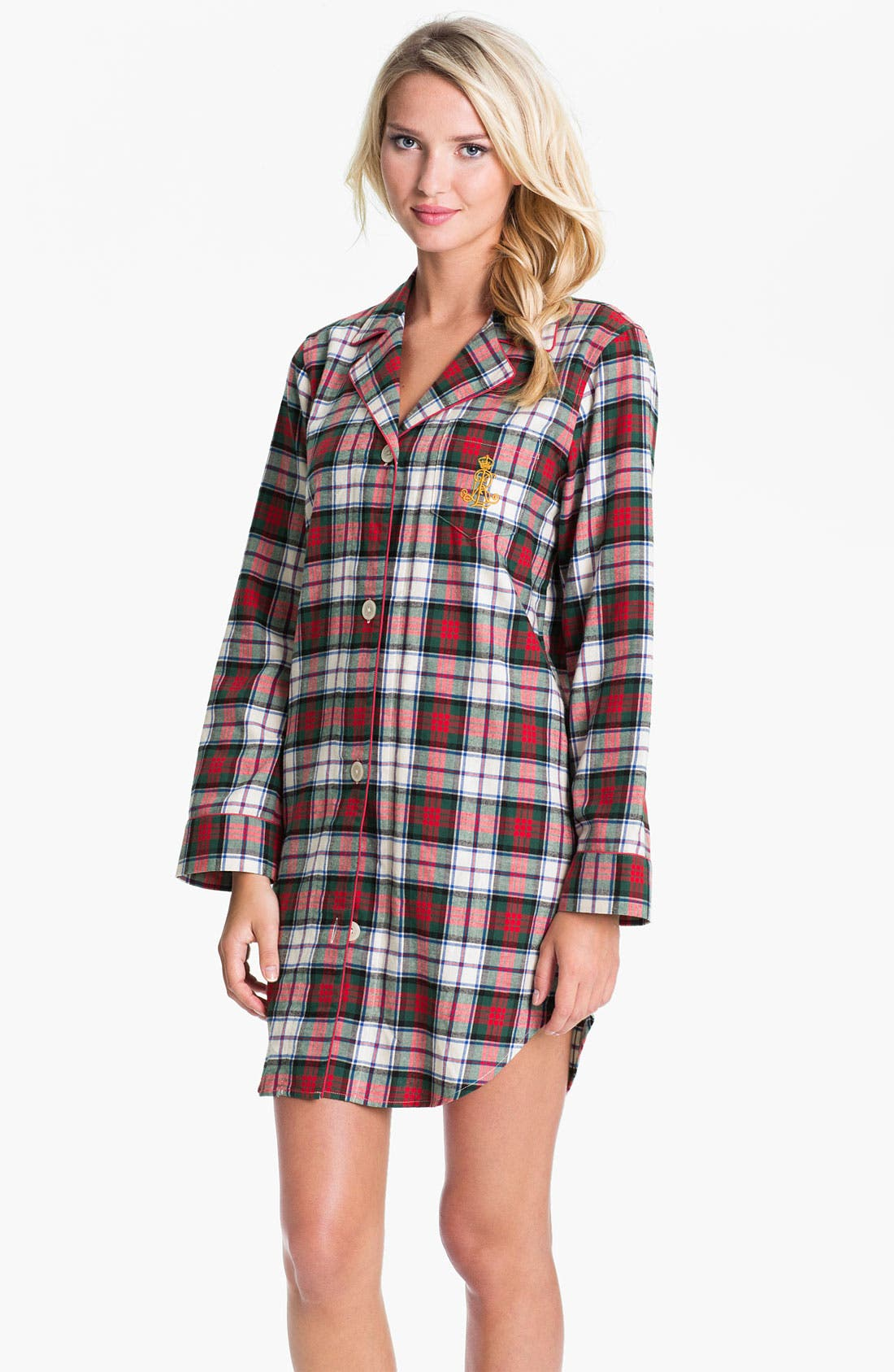 Alternate Image 1 Selected - Lauren Ralph Lauren Sleepwear Brushed Twill Nightshirt