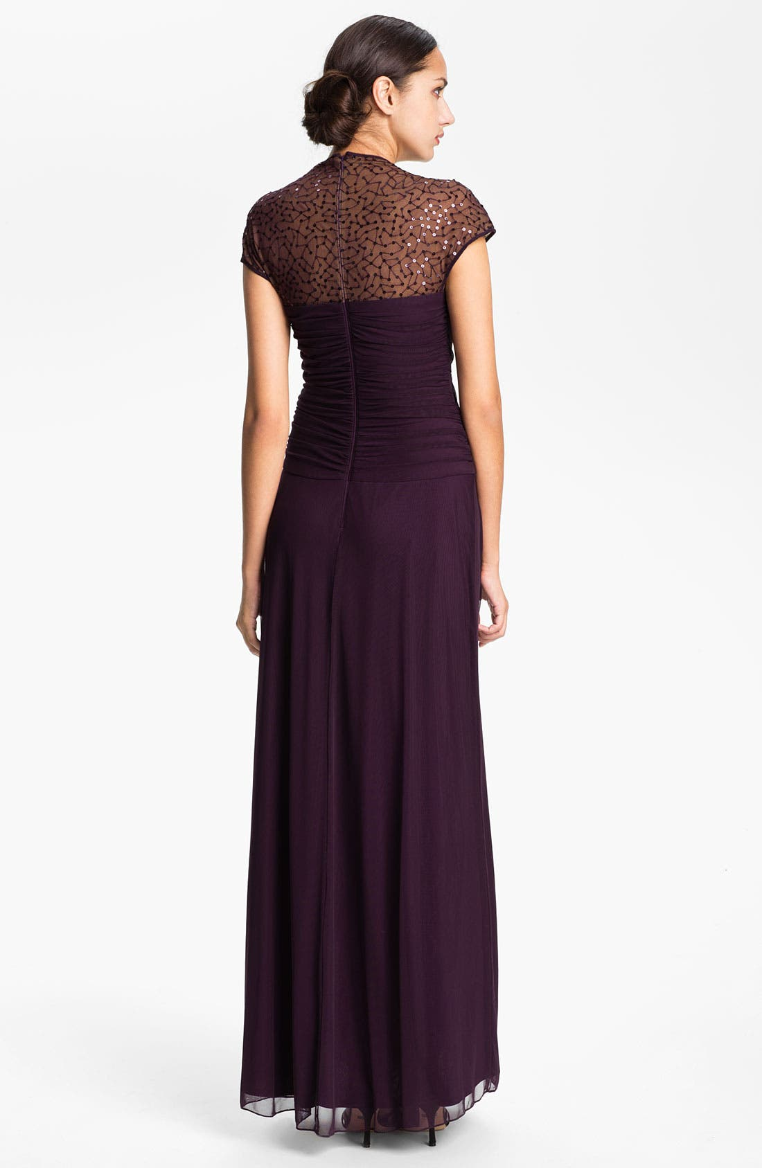 Alternate Image 2  - T by Tadashi Cap Sleeve Sequin Mesh Gown