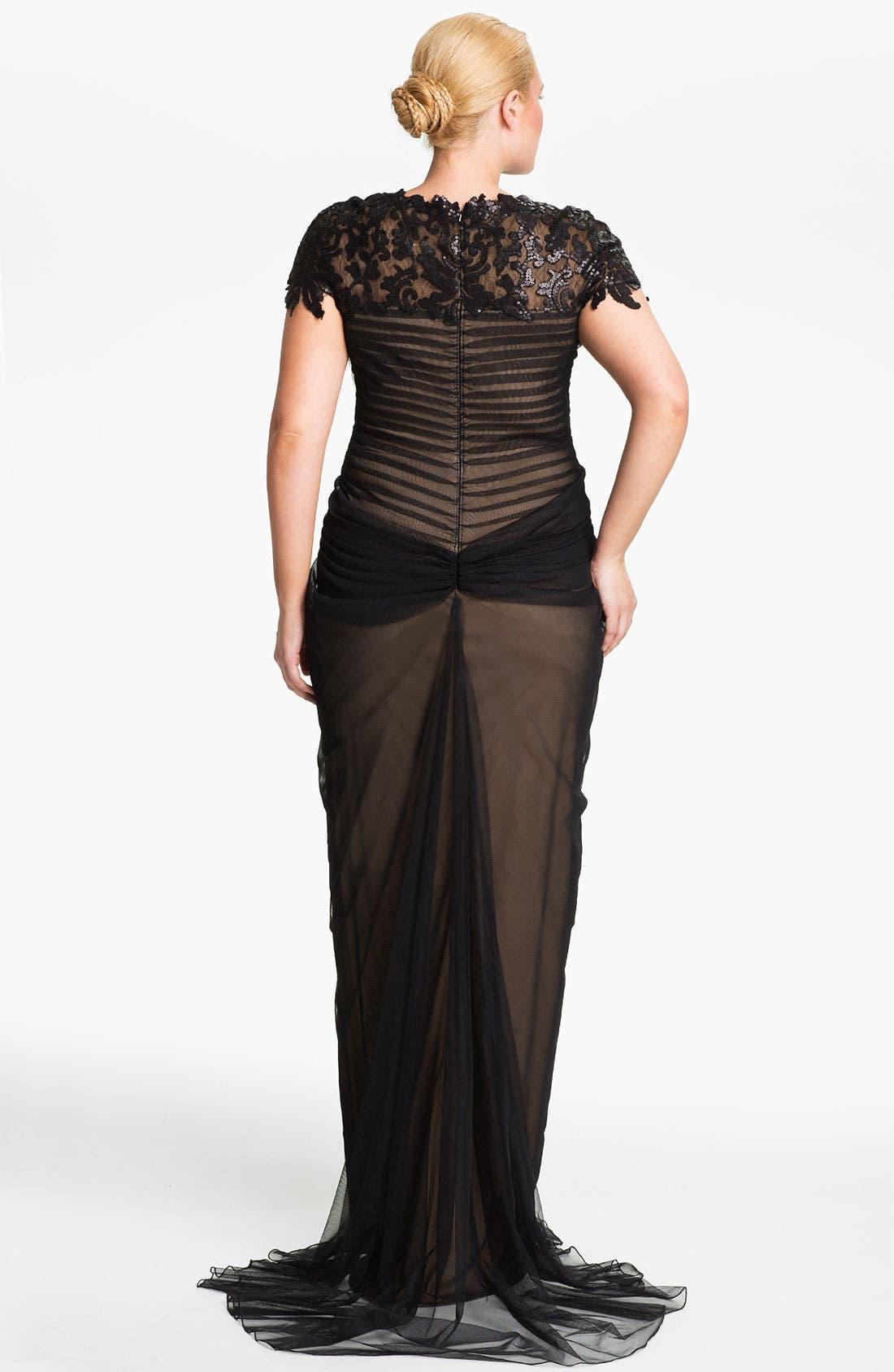 Alternate Image 2  - Tadashi Shoji Chiffon & Lace Gown (Plus Size)