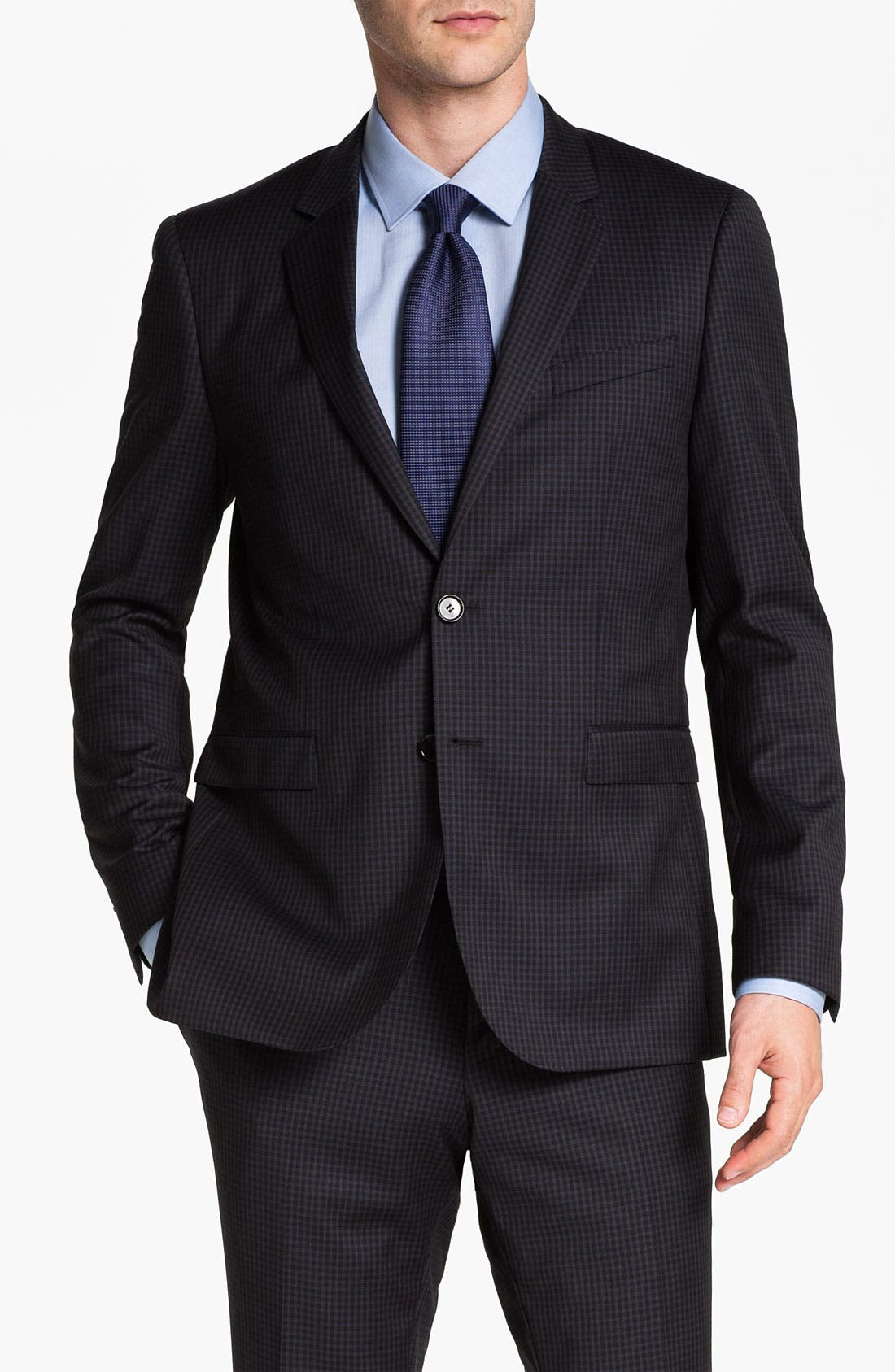 Alternate Image 1 Selected - BOSS Black 'Ryan/Win' Extra Trim Fit Check Suit