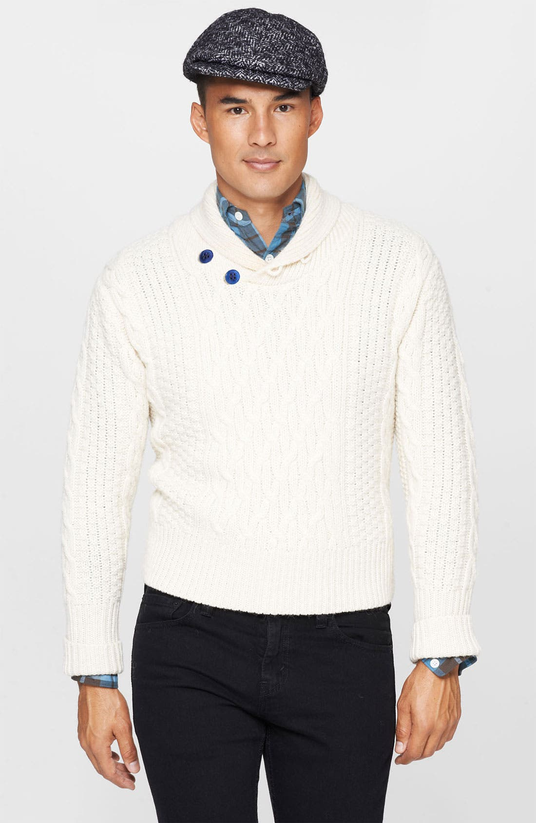 Alternate Image 1 Selected - Levi's® Made & Crafted™ Cable Knit Shawl Collar Sweater