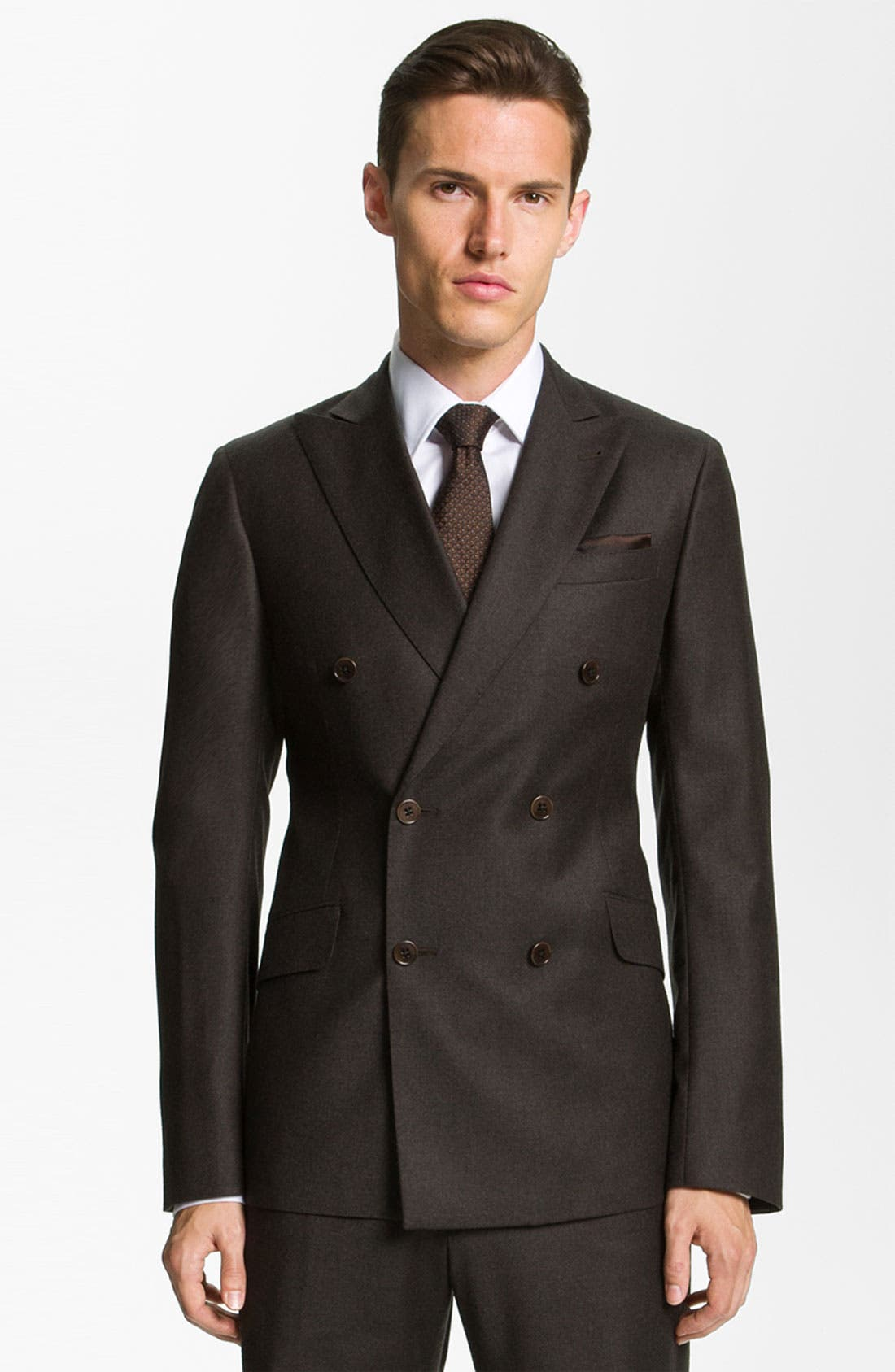 Main Image - Armani Collezioni 'Sartorial' Double Breasted Trim Fit Suit
