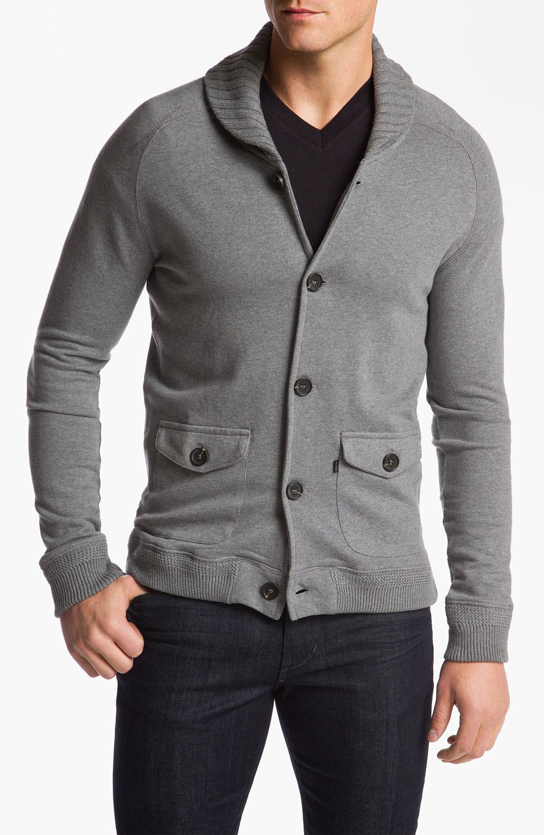 Alternate Image 1 Selected - J.C. Rags Extra Trim Fit Shawl Collar Cardigan