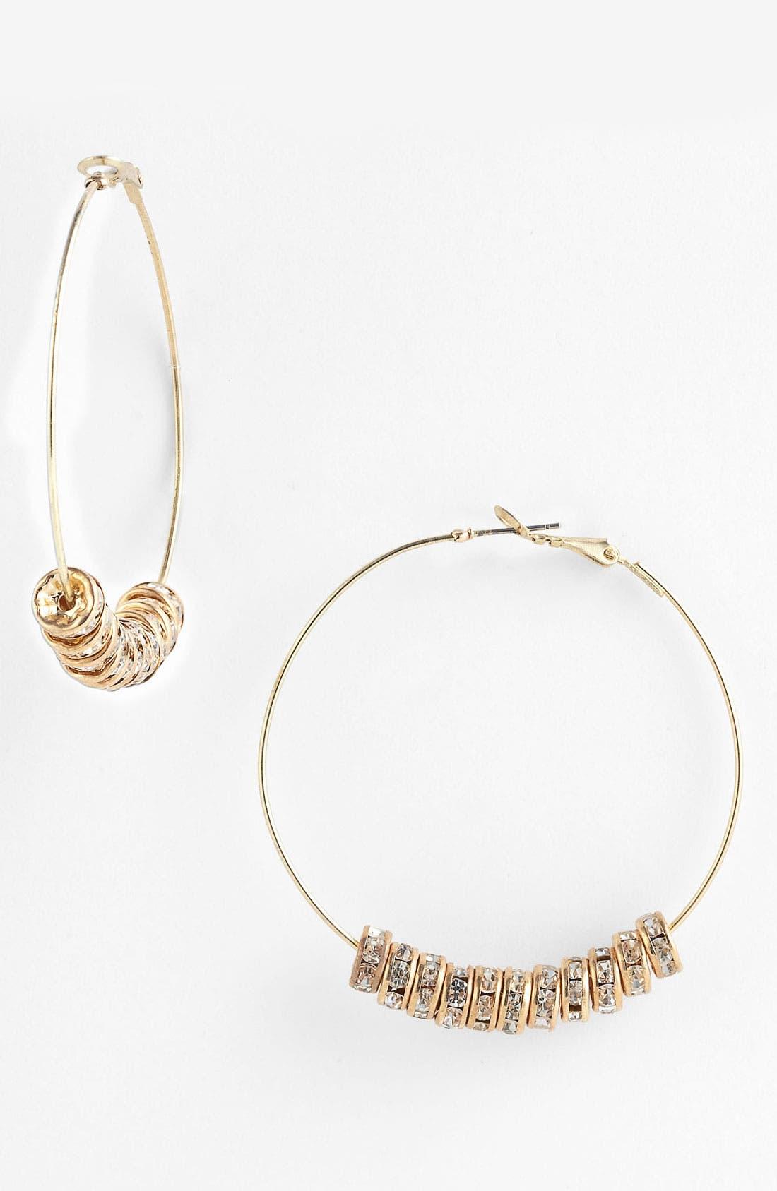 Main Image - Carole Rhinestone Hoop Earrings