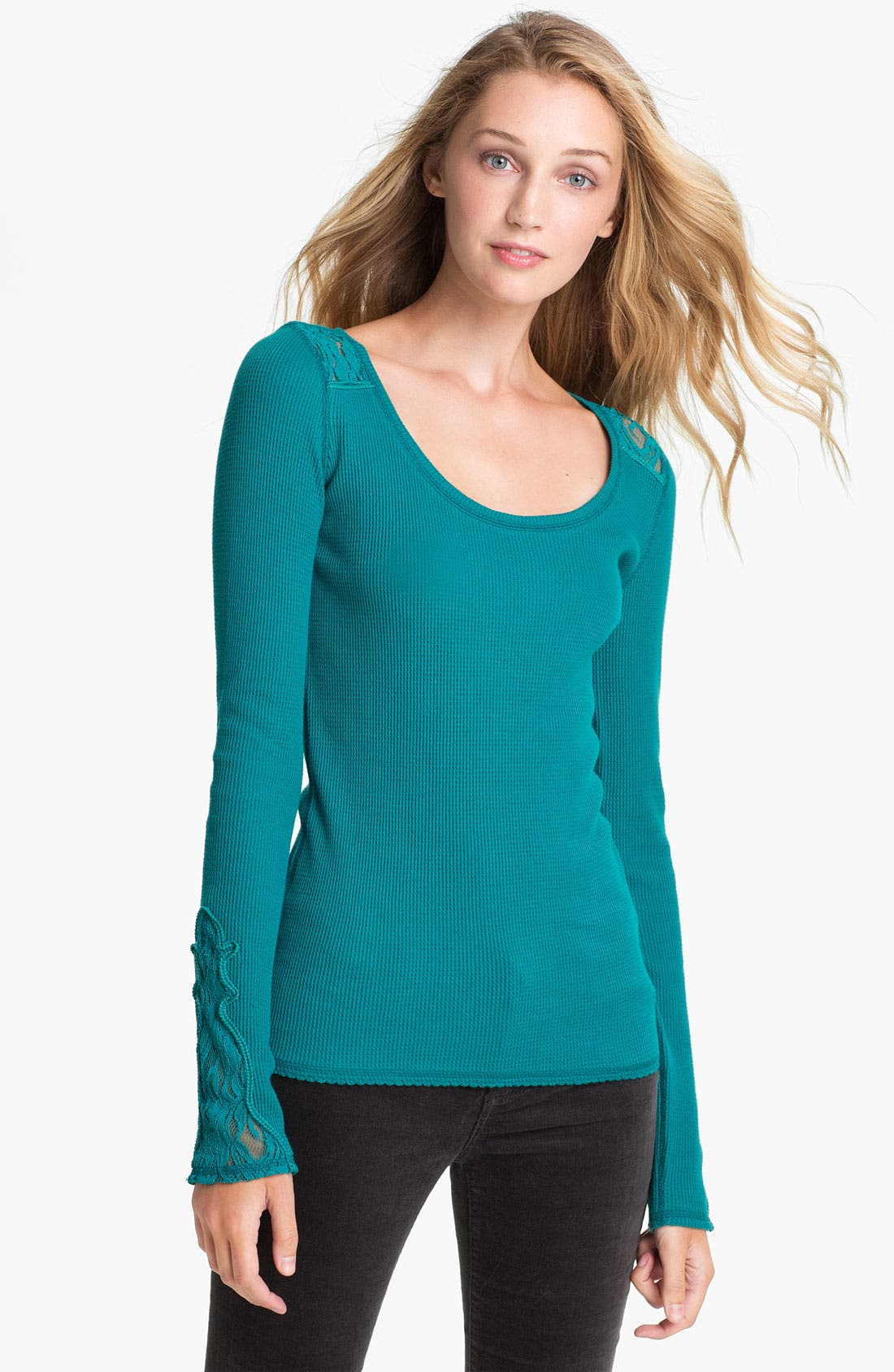 Alternate Image 1 Selected - Lucky Brand Lace Trim Thermal Top