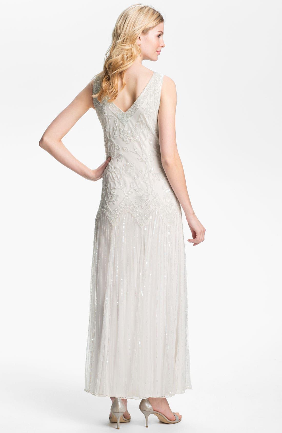 Alternate Image 2  - Pisarro Nights V-Neck Bead & Sequin Mesh Gown